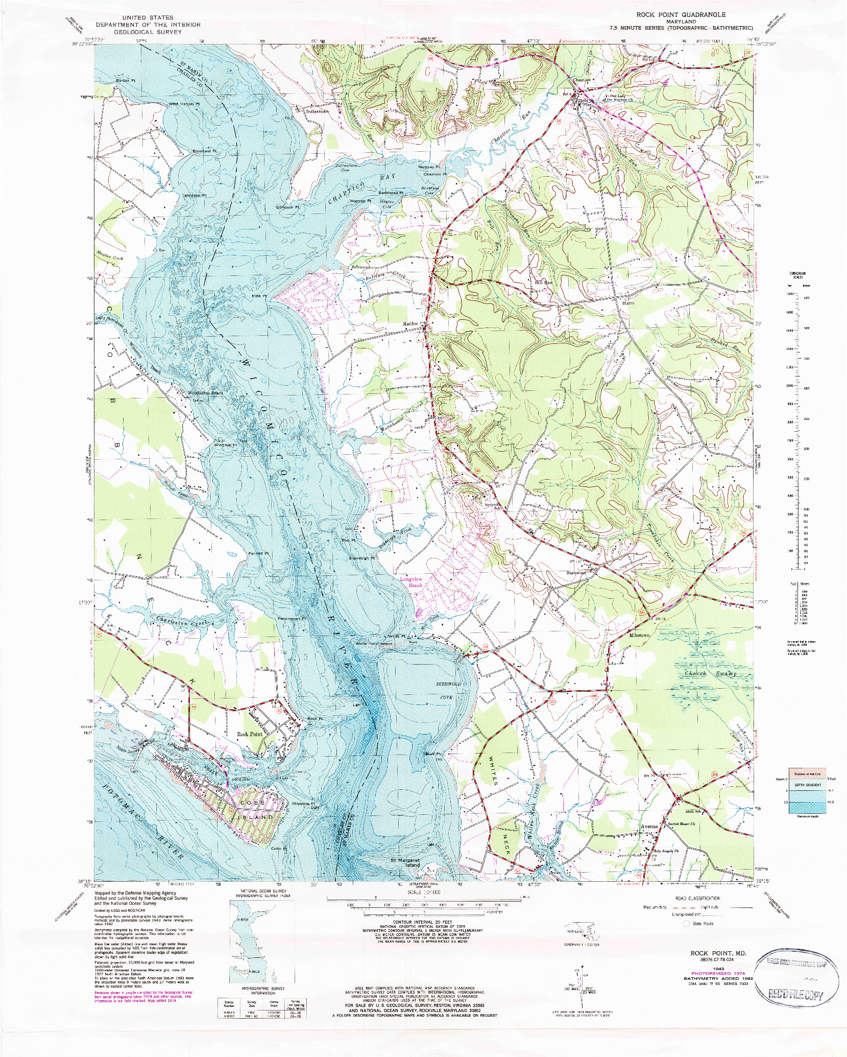 USGS 1:24000-SCALE QUADRANGLE FOR ROCK POINT, MD 1943
