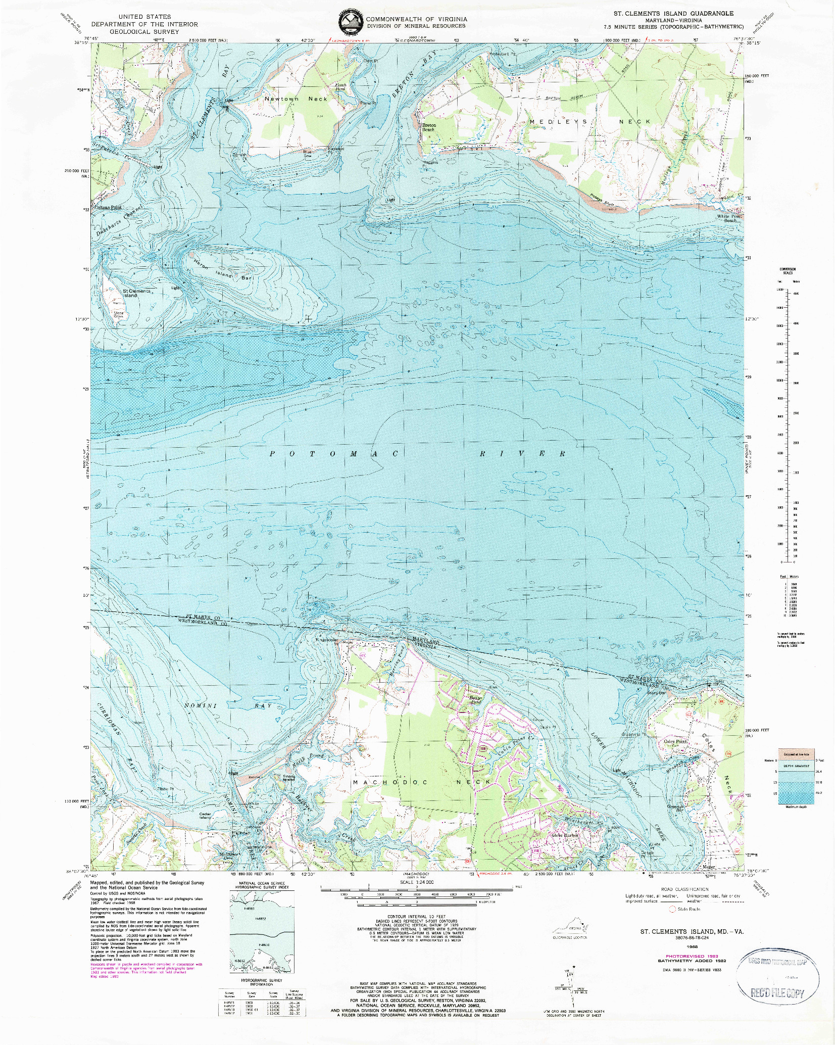 USGS 1:24000-SCALE QUADRANGLE FOR ST. CLEMENTS ISLAND, MD 1968