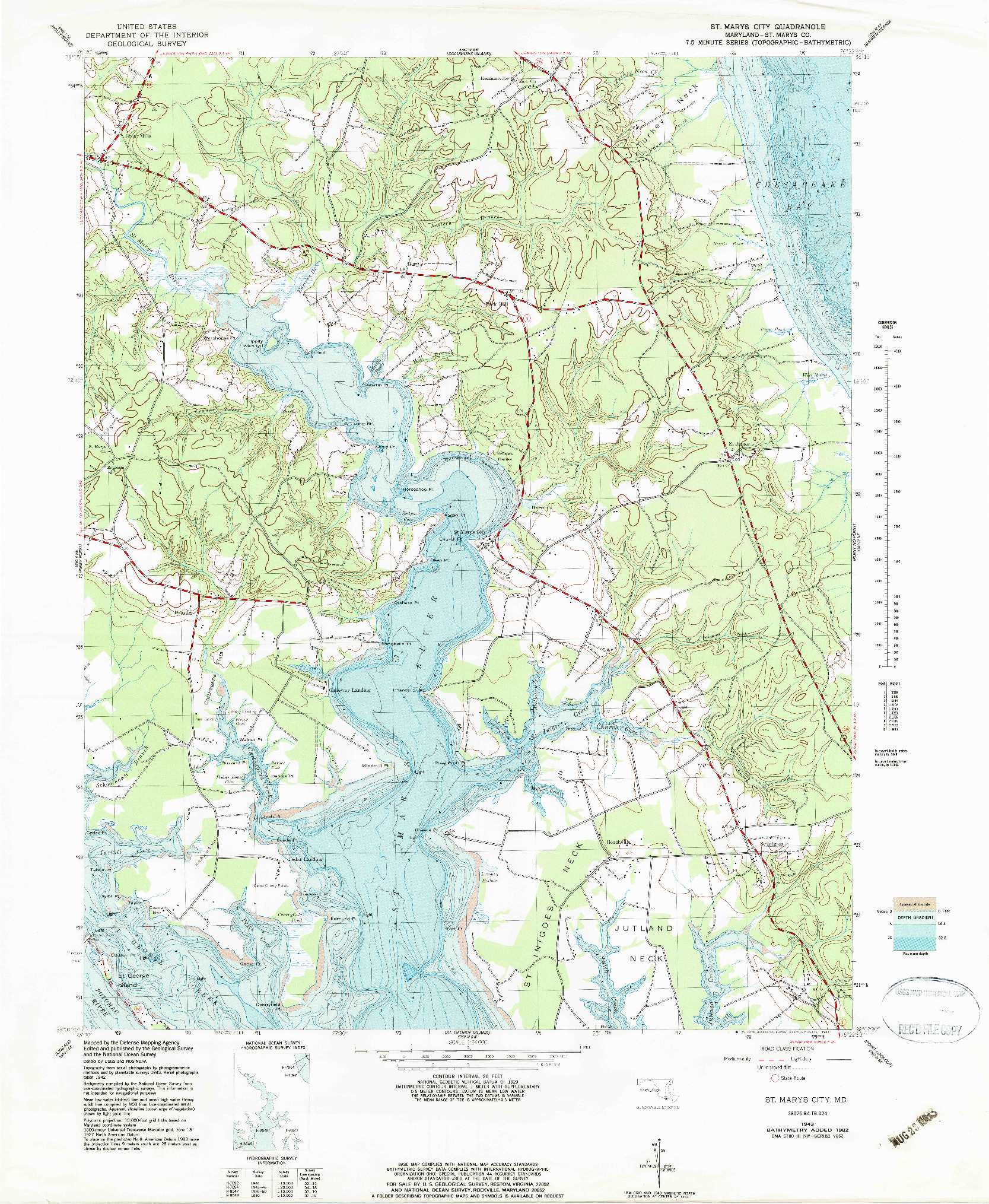 USGS 1:24000-SCALE QUADRANGLE FOR ST. MARYS CITY, MD 1943