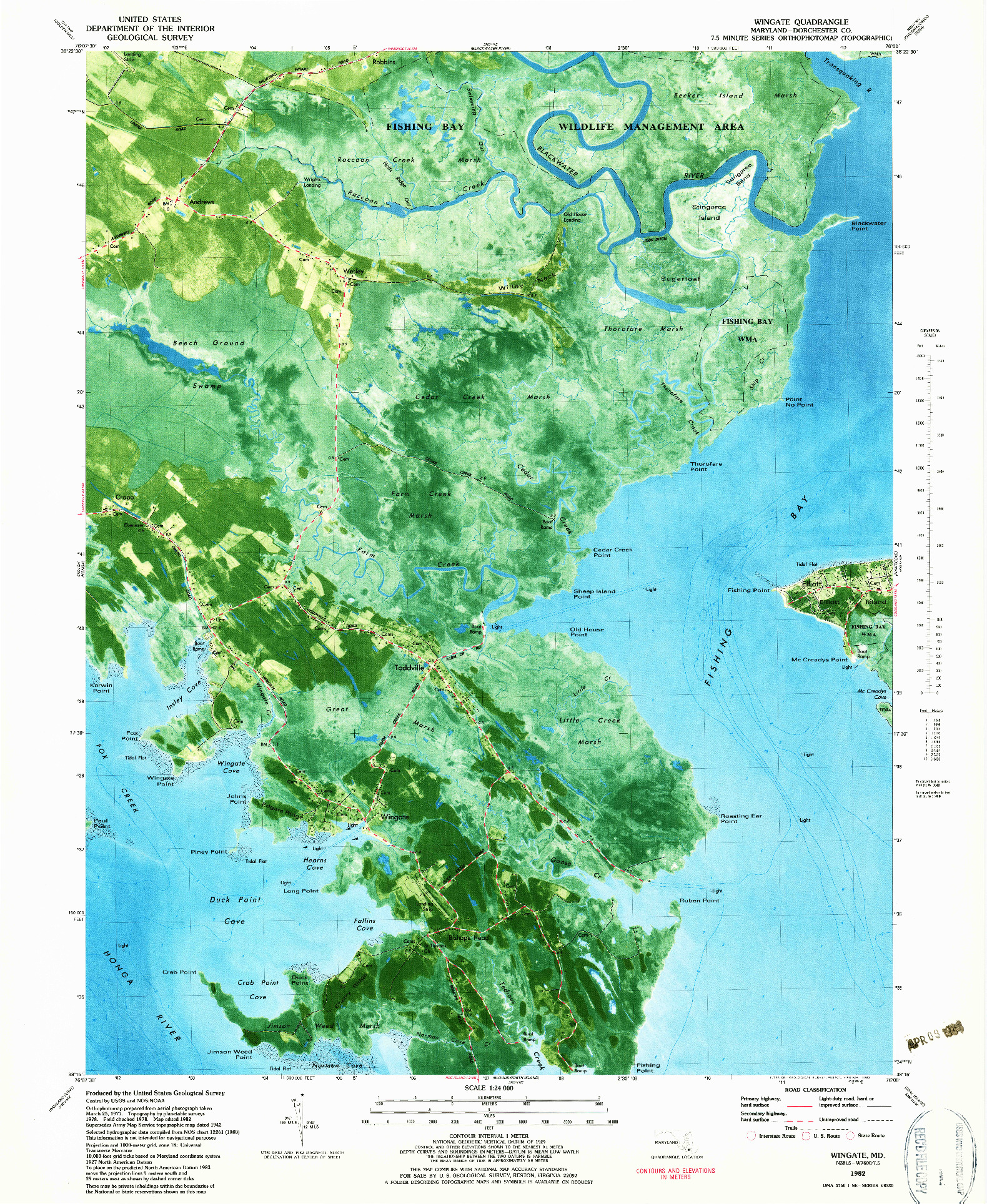 USGS 1:24000-SCALE QUADRANGLE FOR WINGATE, MD 1982