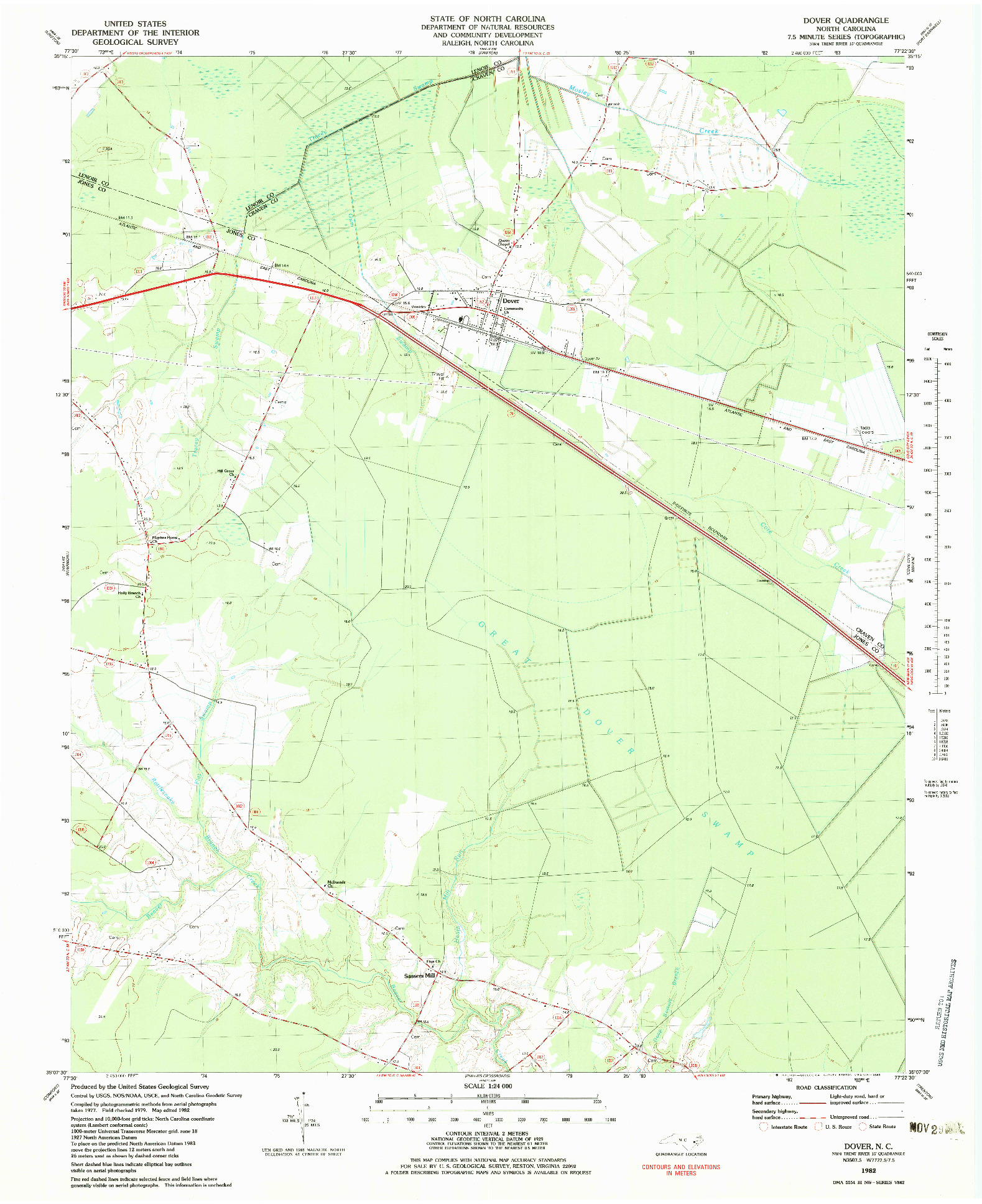 USGS 1:24000-SCALE QUADRANGLE FOR DOVER, NC 1982