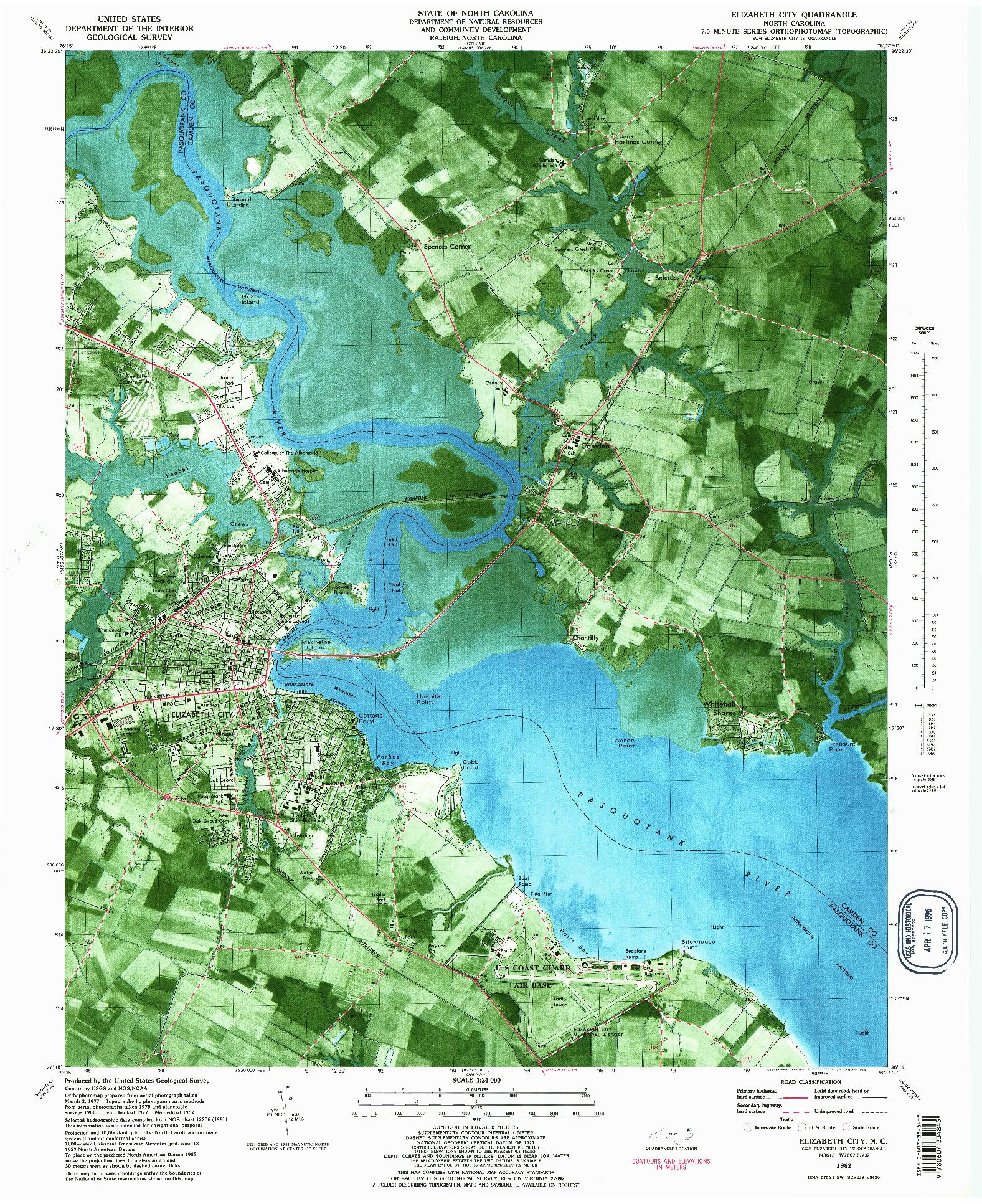 USGS 1:24000-SCALE QUADRANGLE FOR ELIZABETH CITY, NC 1982