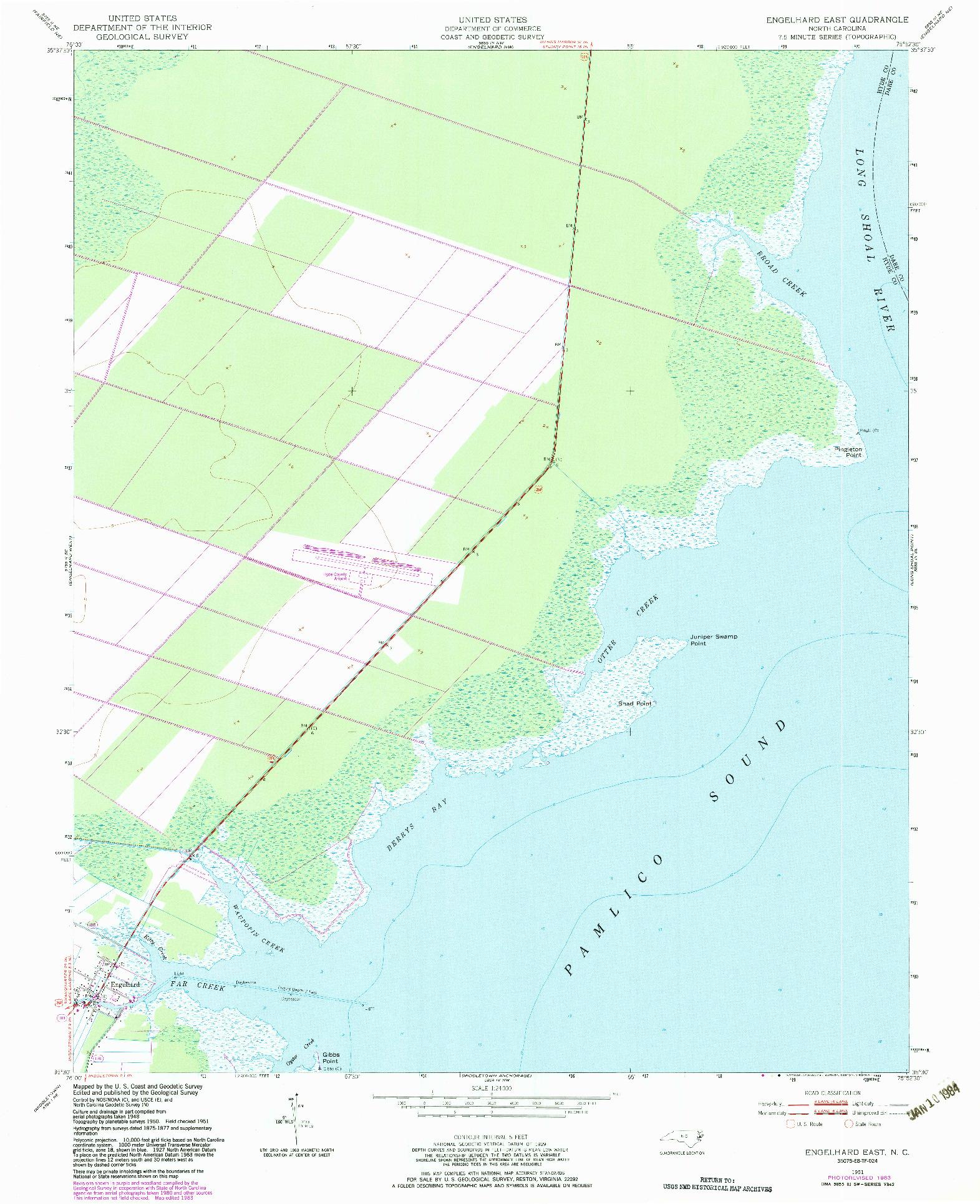 USGS 1:24000-SCALE QUADRANGLE FOR ENGELHARD EAST, NC 1951