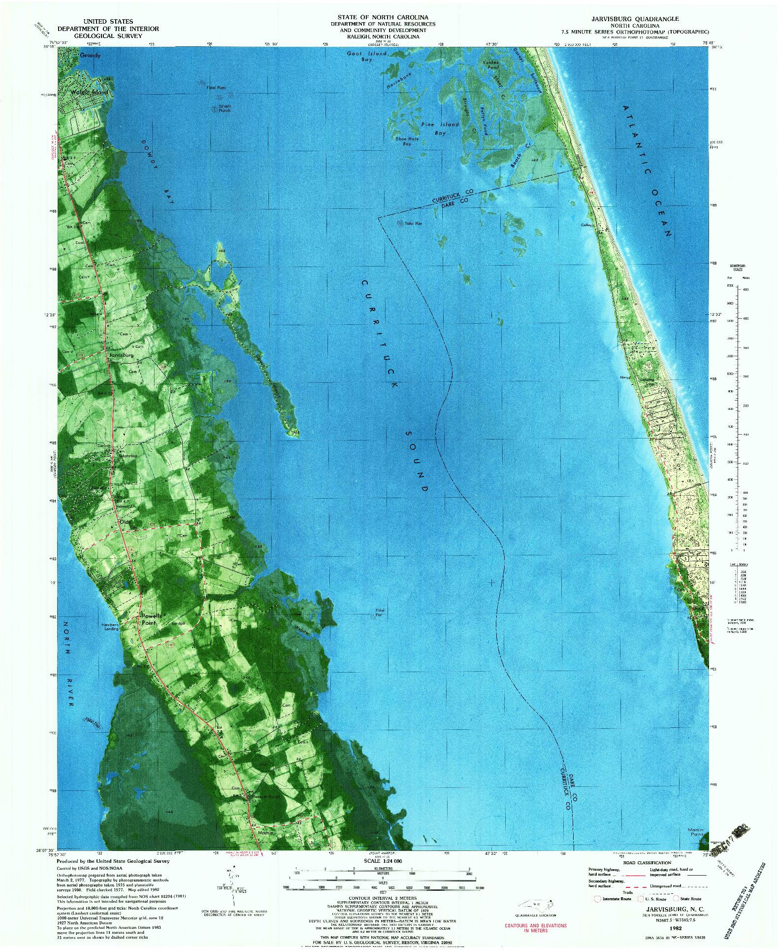 USGS 1:24000-SCALE QUADRANGLE FOR JARVISBURG, NC 1982