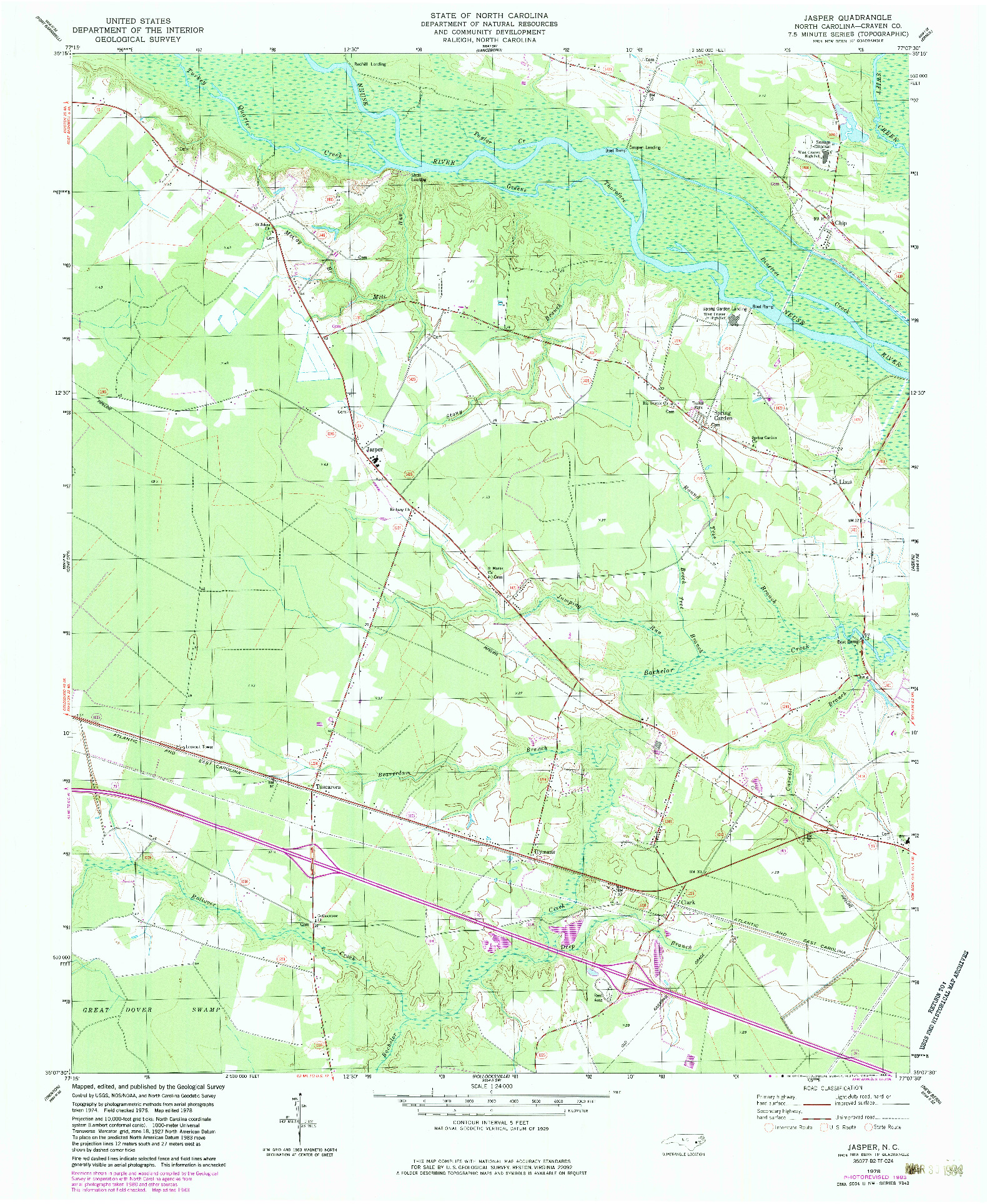 USGS 1:24000-SCALE QUADRANGLE FOR JASPER, NC 1978