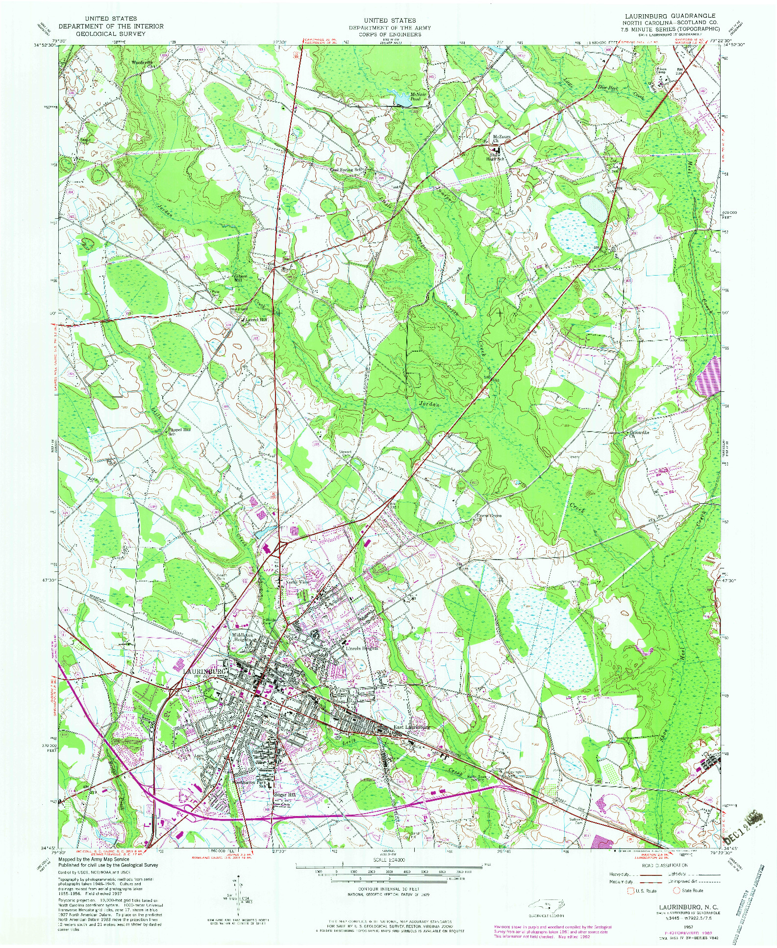 USGS 1:24000-SCALE QUADRANGLE FOR LAURINBURG, NC 1957