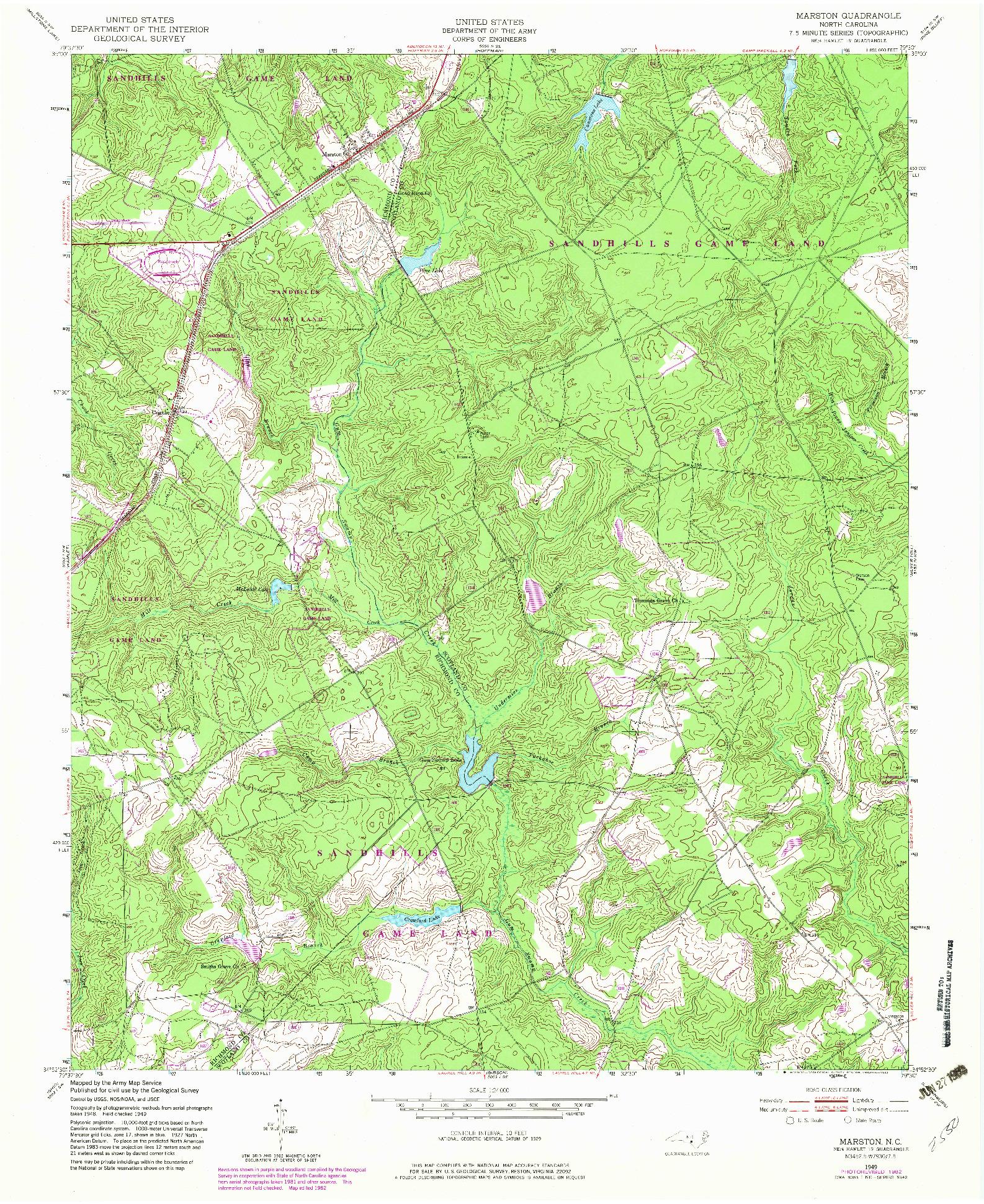 USGS 1:24000-SCALE QUADRANGLE FOR MARSTON, NC 1949