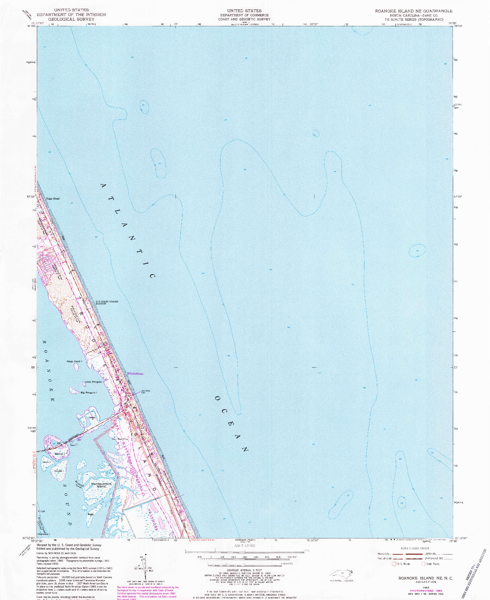 USGS 1:24000-SCALE QUADRANGLE FOR ROANOKE ISLAND NE, NC 1953