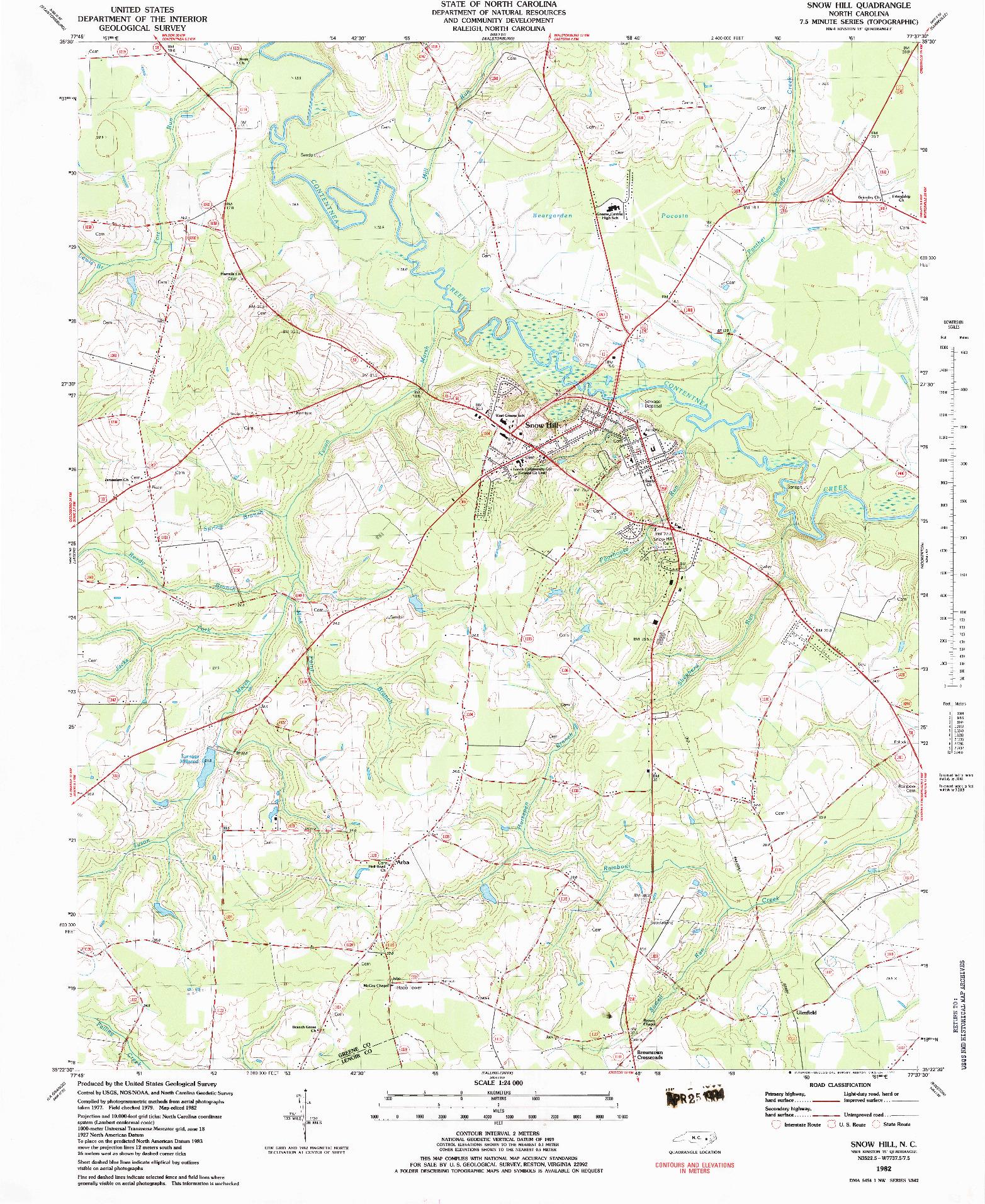USGS 1:24000-SCALE QUADRANGLE FOR SNOW HILL, NC 1982