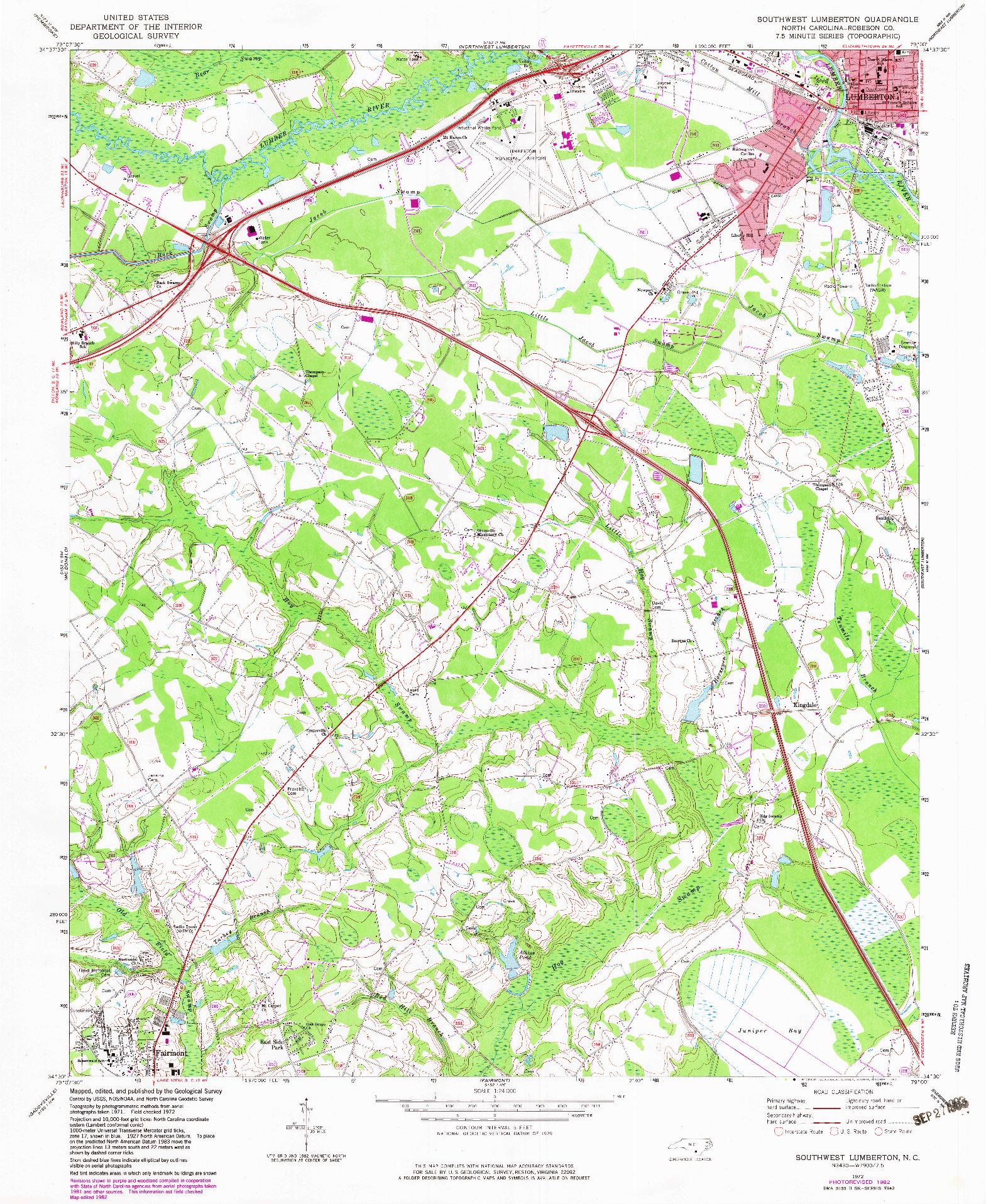 USGS 1:24000-SCALE QUADRANGLE FOR SOUTHWEST LUMBERTON, NC 1972