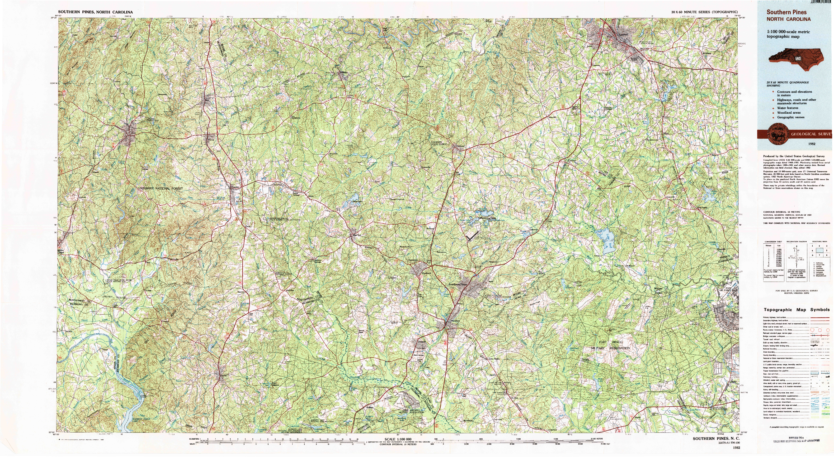 USGS 1:100000-SCALE QUADRANGLE FOR SOUTHERN PINES, NC 1982