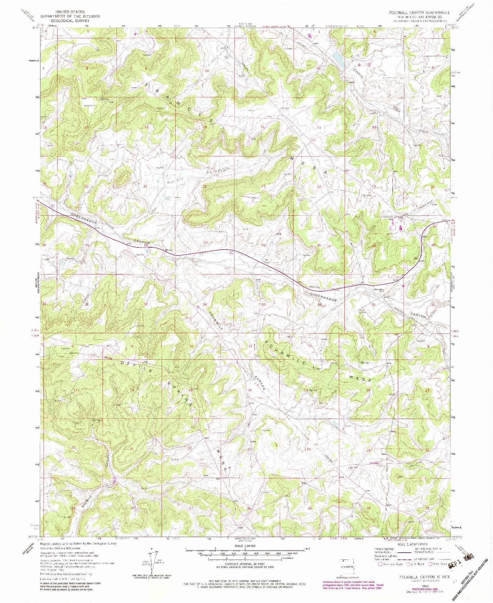 USGS 1:24000-SCALE QUADRANGLE FOR FOURMILE CANYON, NM 1963