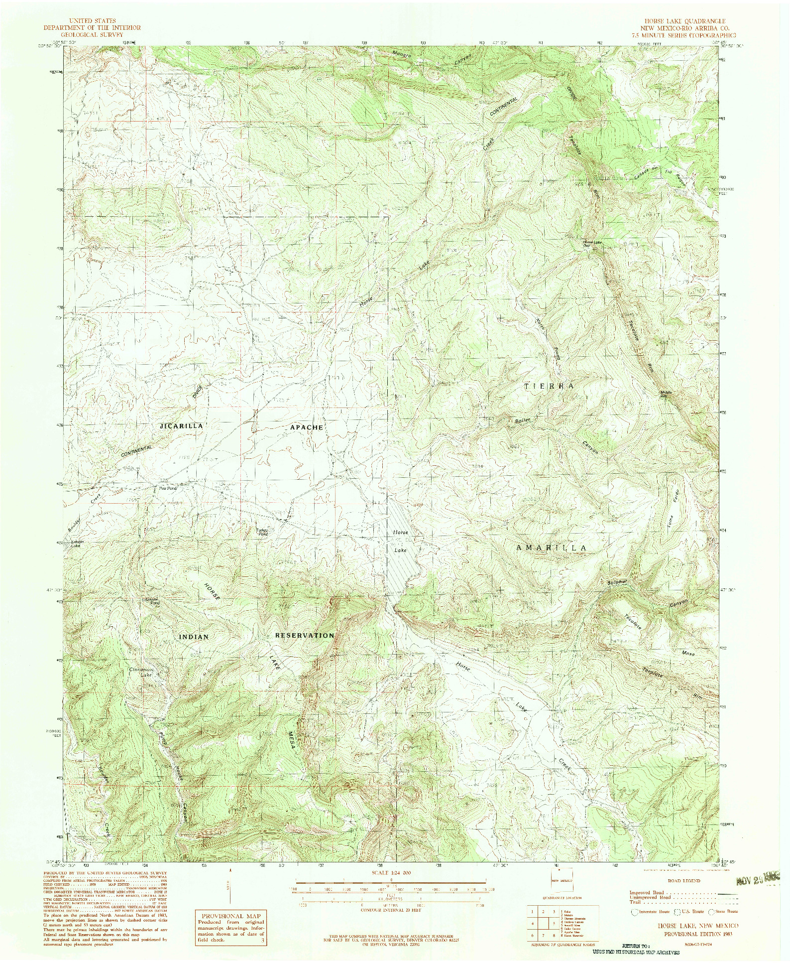 USGS 1:24000-SCALE QUADRANGLE FOR HORSE LAKE, NM 1983