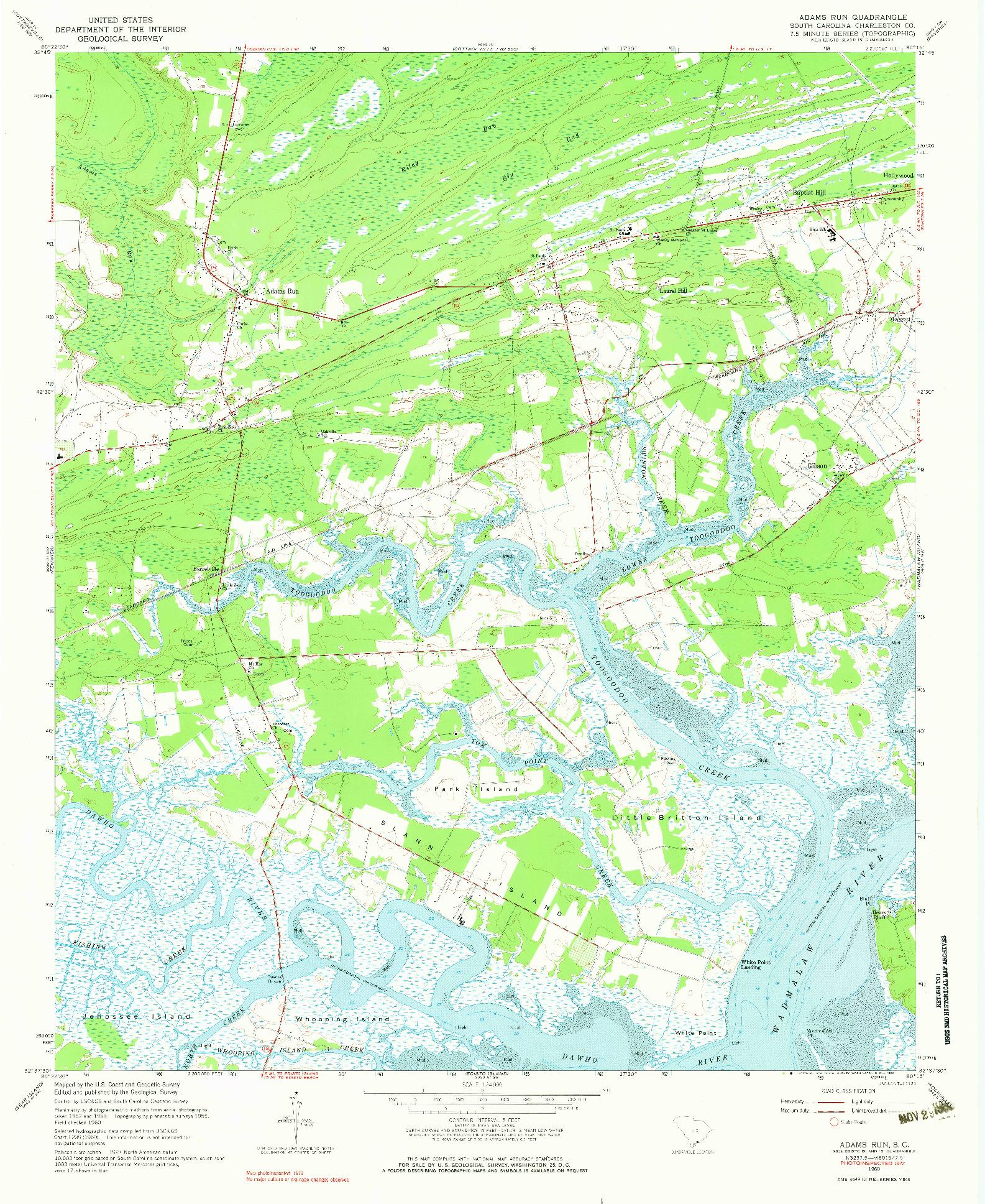 USGS 1:24000-SCALE QUADRANGLE FOR ADAMS RUN, SC 1960