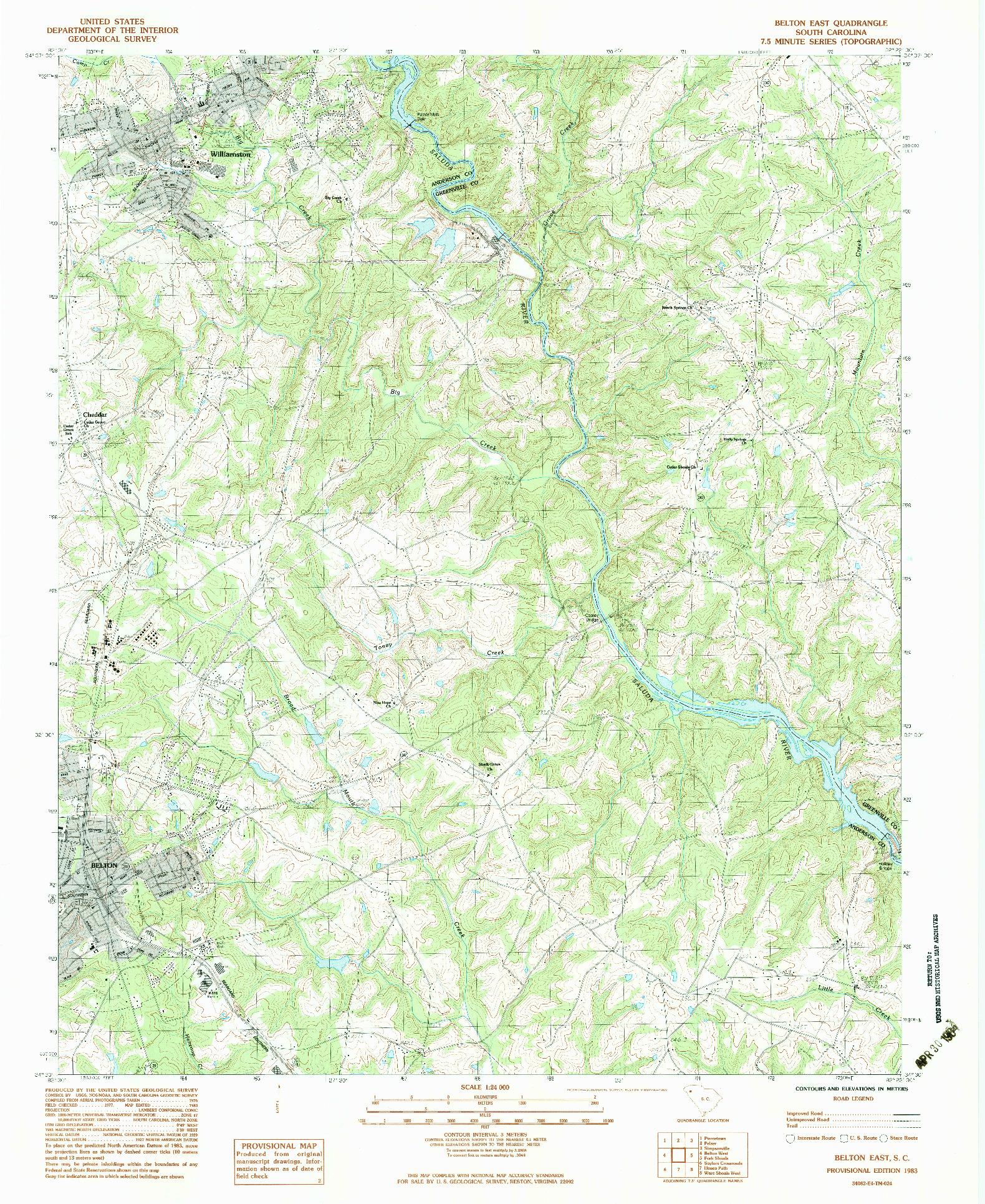 USGS 1:24000-SCALE QUADRANGLE FOR BELTON EAST, SC 1983
