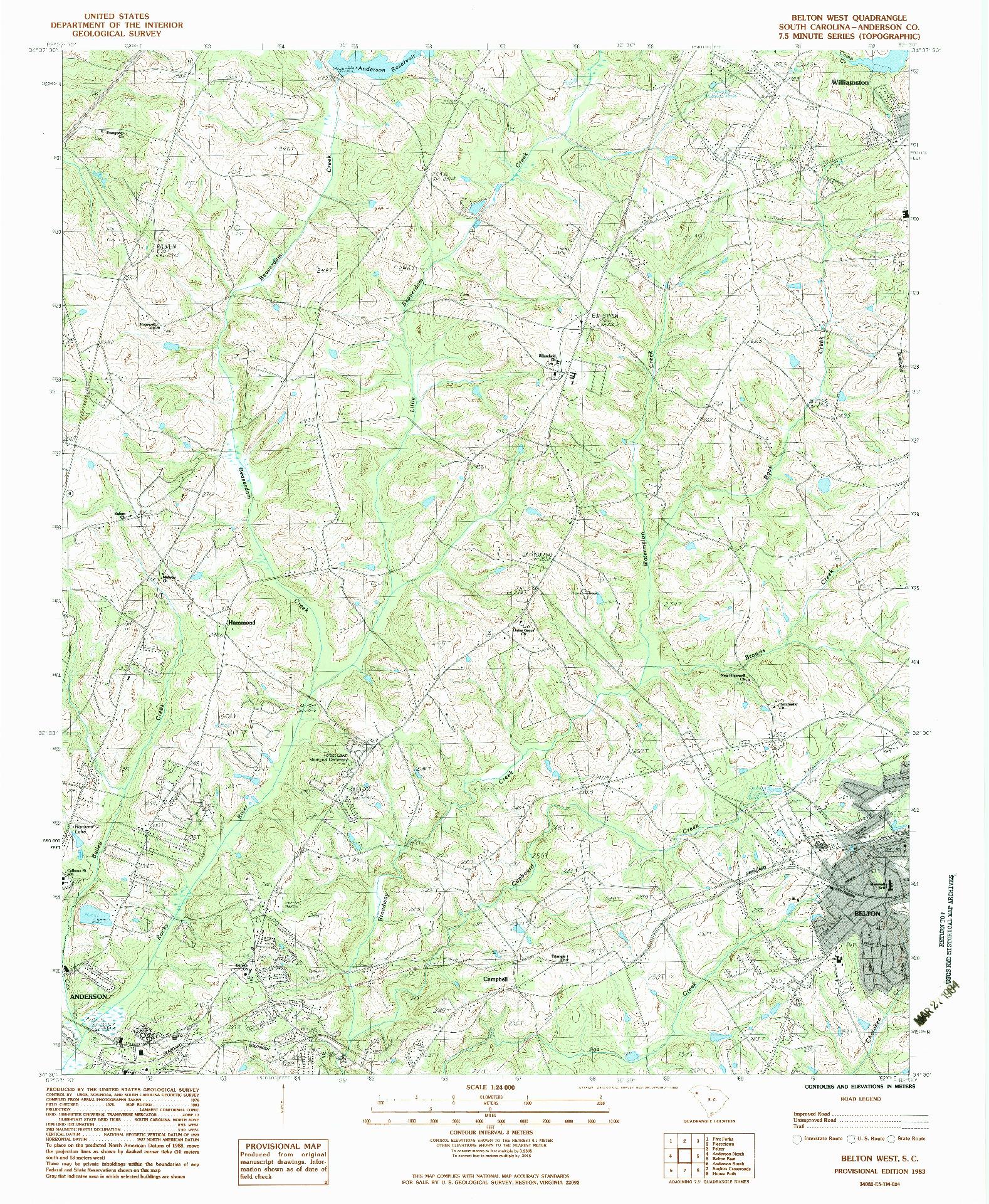USGS 1:24000-SCALE QUADRANGLE FOR BELTON WEST, SC 1983