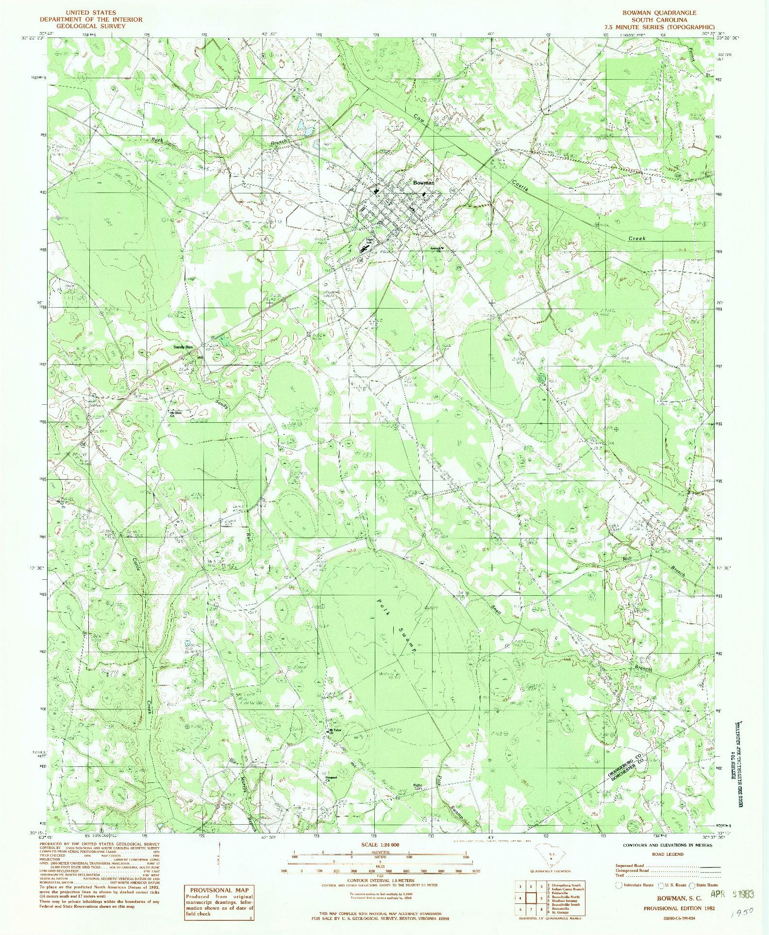 USGS 1:24000-SCALE QUADRANGLE FOR BOWMAN, SC 1982
