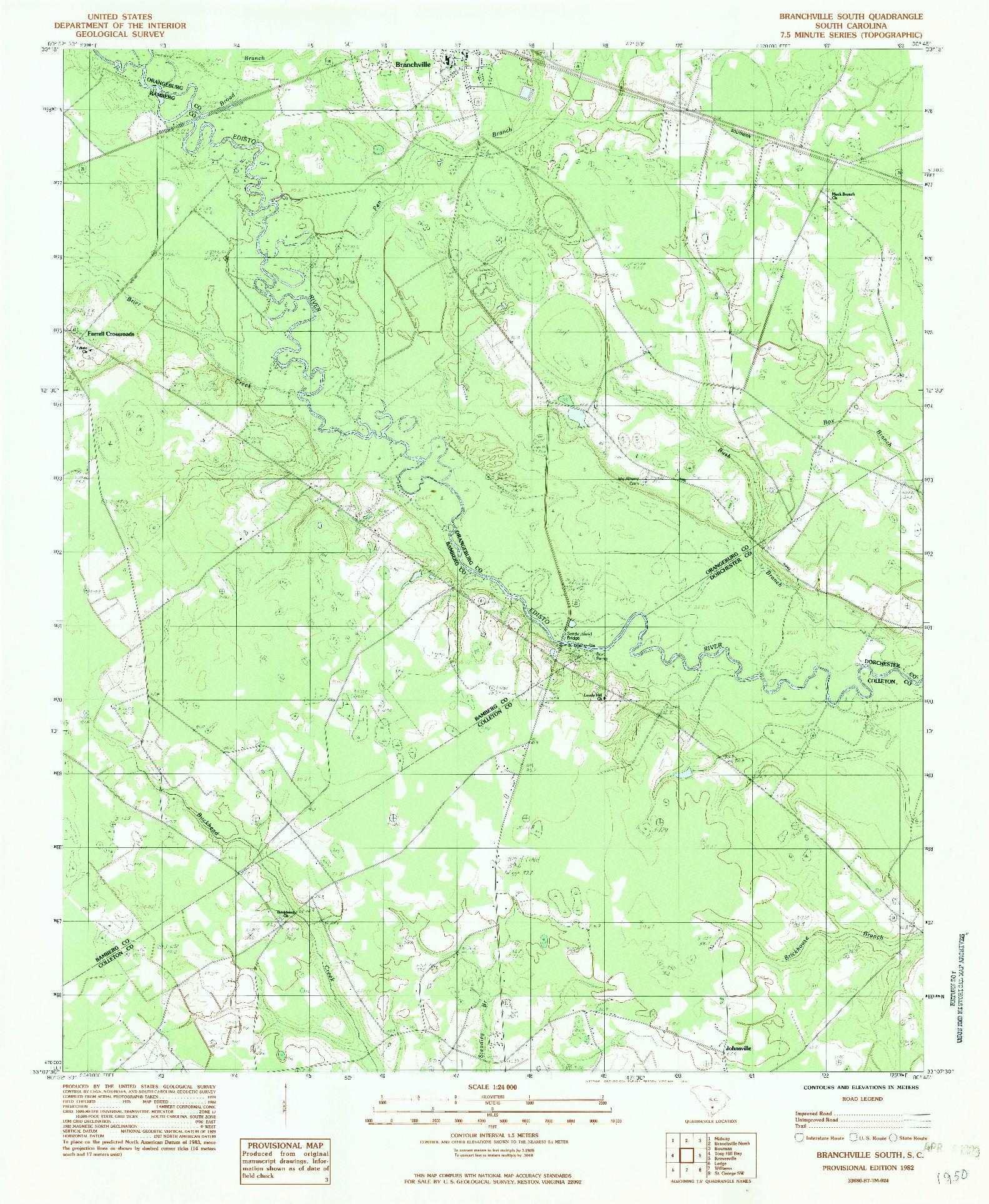 USGS 1:24000-SCALE QUADRANGLE FOR BRANCHVILLE SOUTH, SC 1982