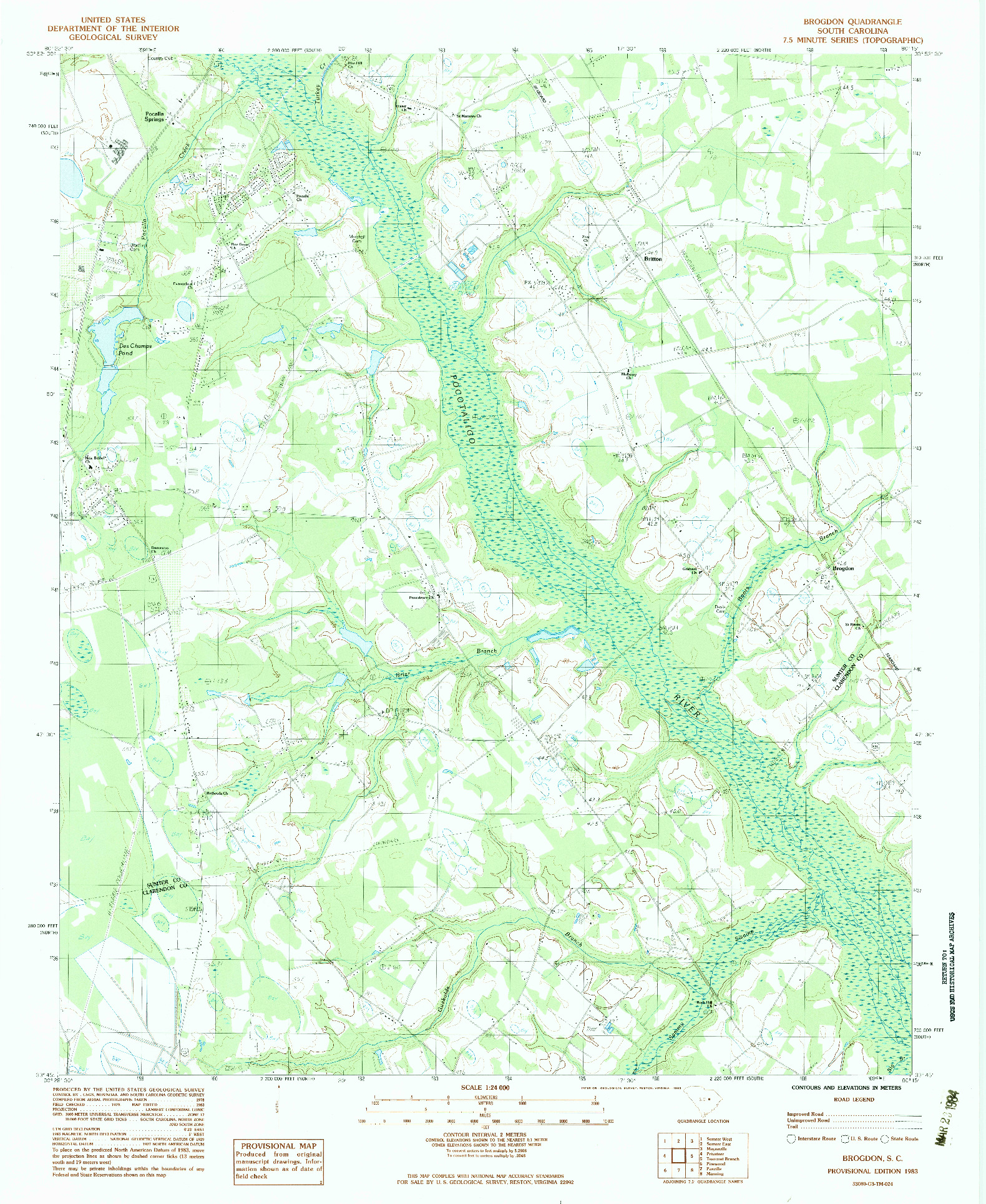 USGS 1:24000-SCALE QUADRANGLE FOR BROGDON, SC 1983