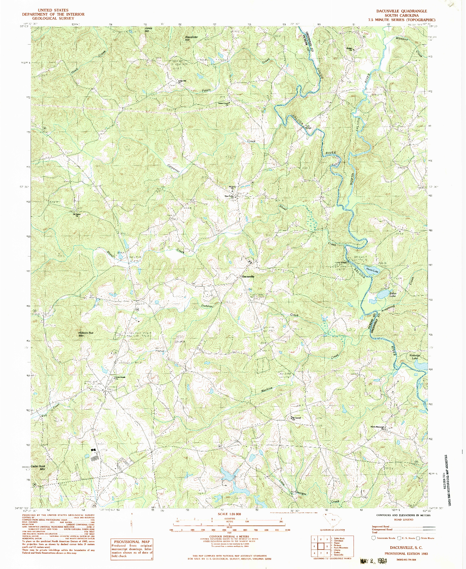 USGS 1:24000-SCALE QUADRANGLE FOR DACUSVILLE, SC 1983