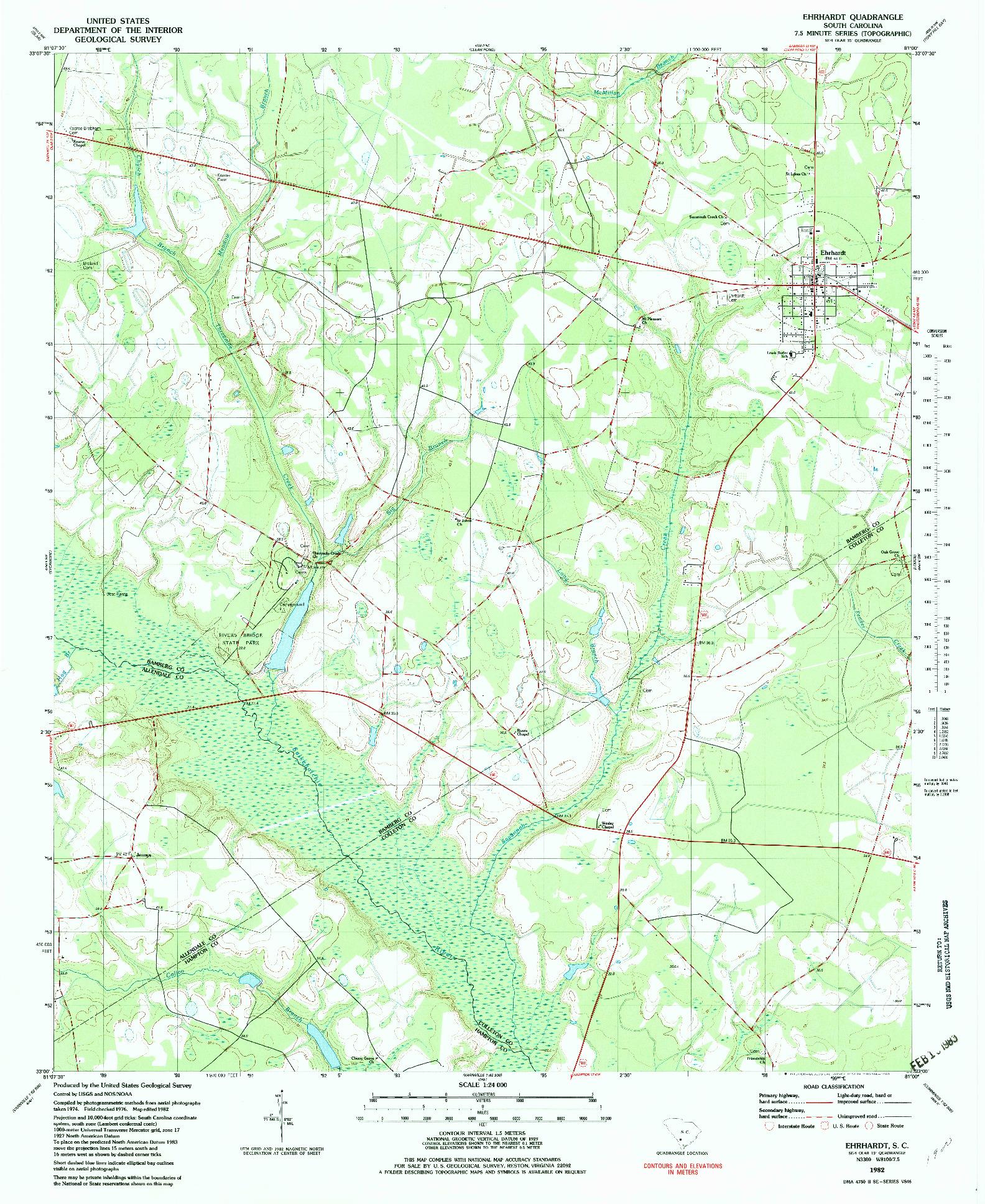 USGS 1:24000-SCALE QUADRANGLE FOR EHRHARDT, SC 1982