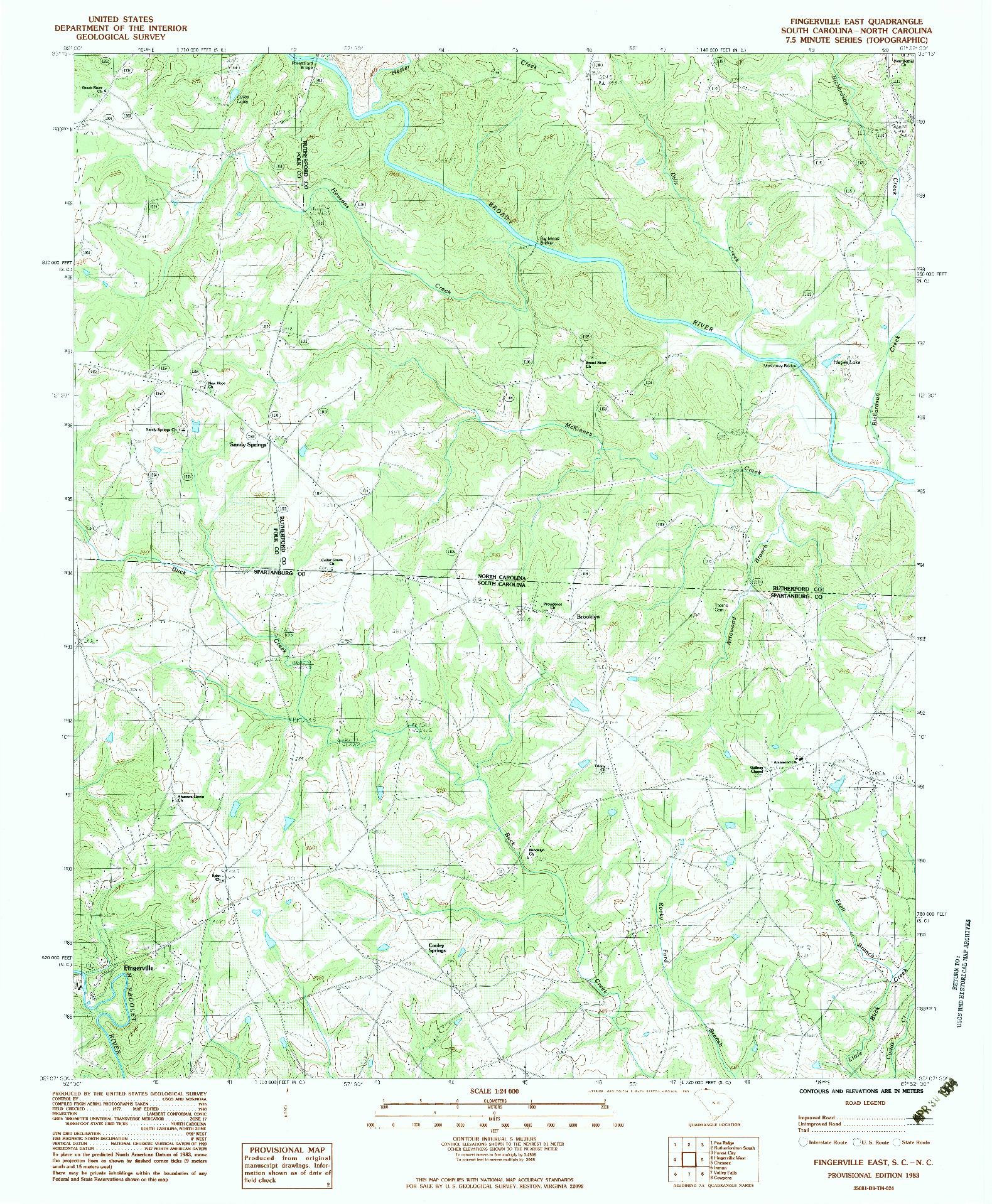 USGS 1:24000-SCALE QUADRANGLE FOR FINGERVILLE EAST, SC 1983
