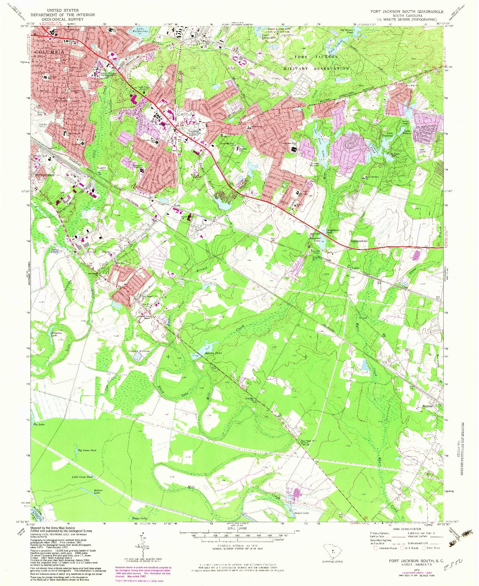 USGS 1:24000-SCALE QUADRANGLE FOR FORT JACKSON SOUTH, SC 1972