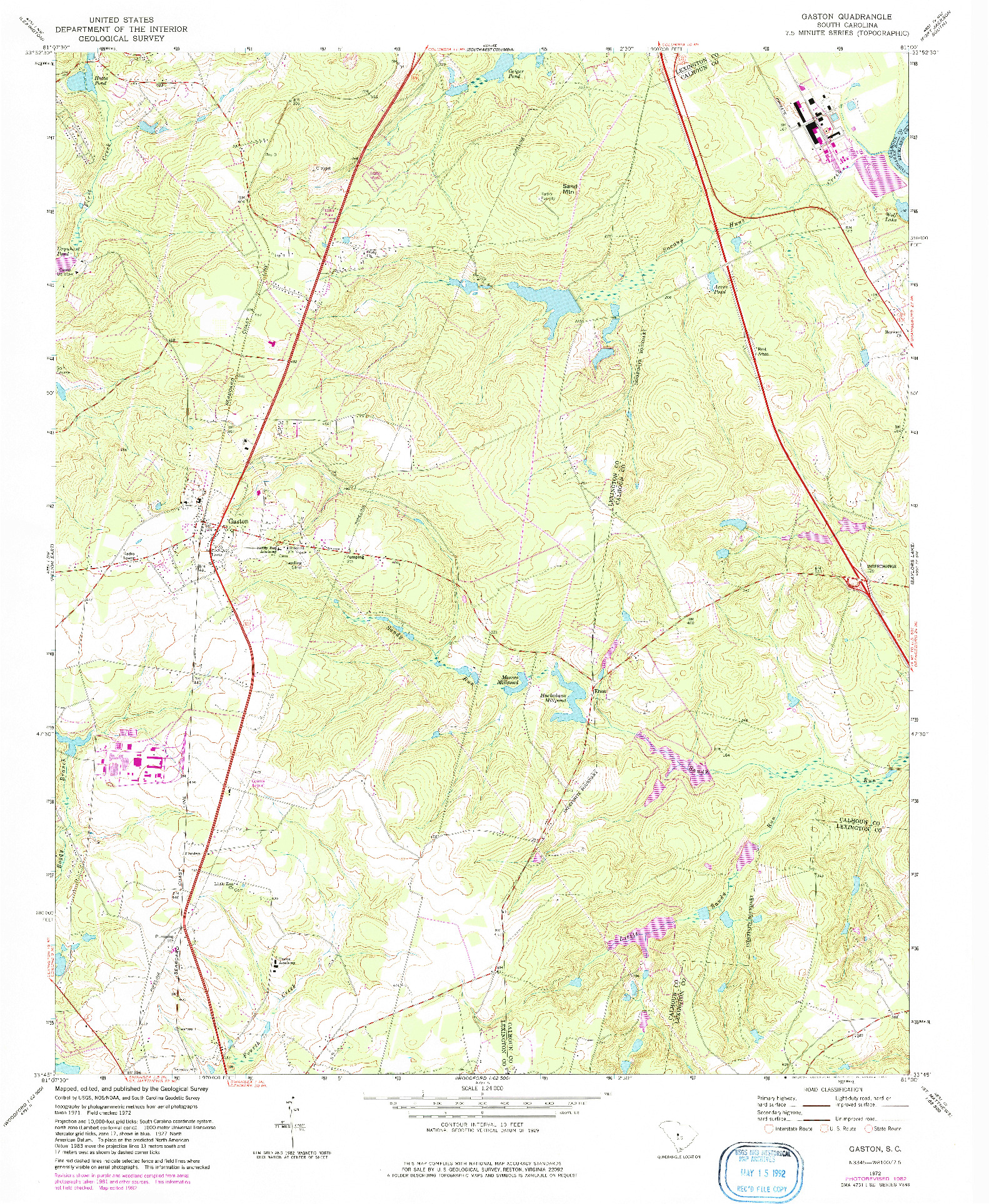 USGS 1:24000-SCALE QUADRANGLE FOR GASTON, SC 1972