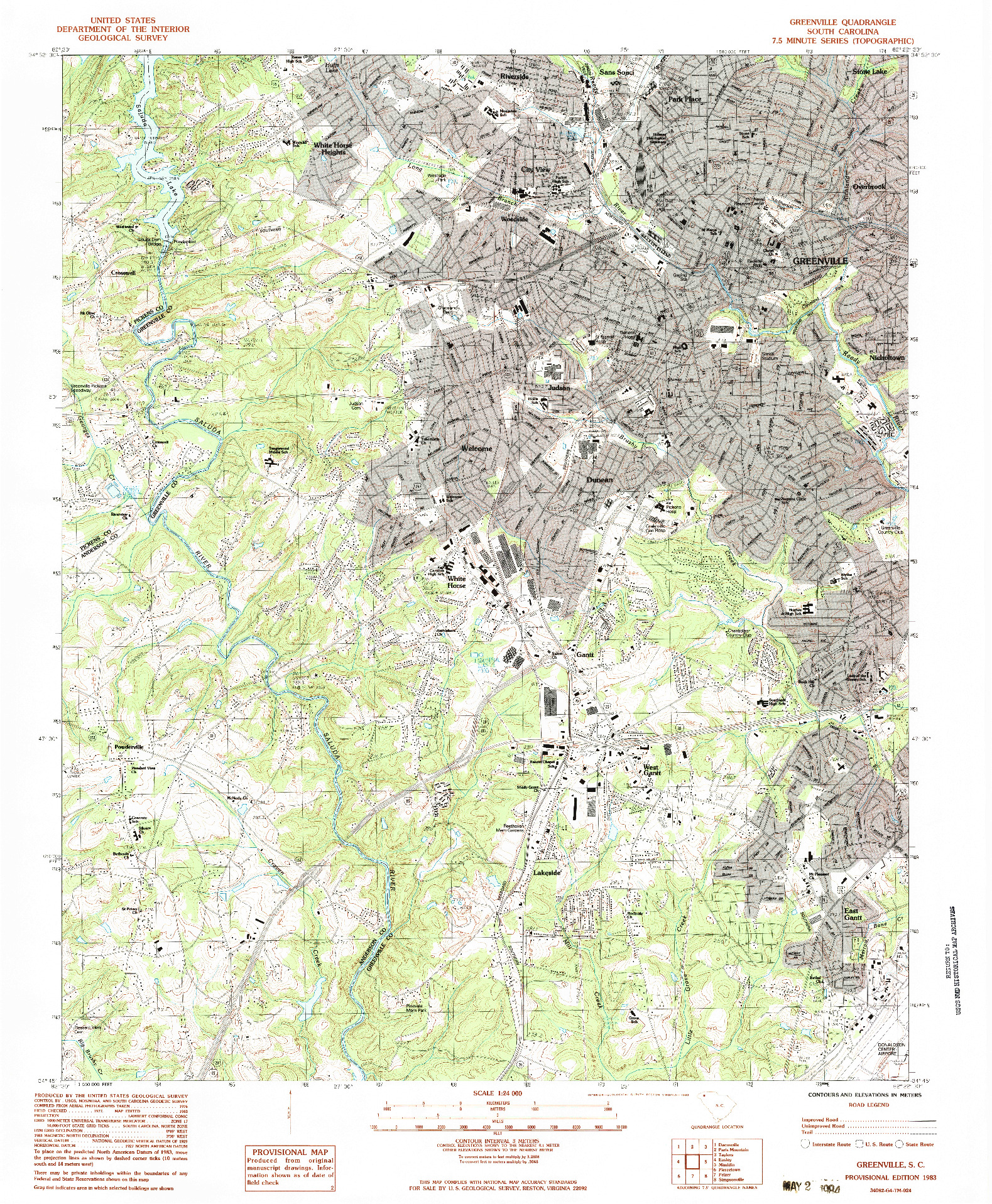 USGS 1:24000-SCALE QUADRANGLE FOR GREENVILLE, SC 1983