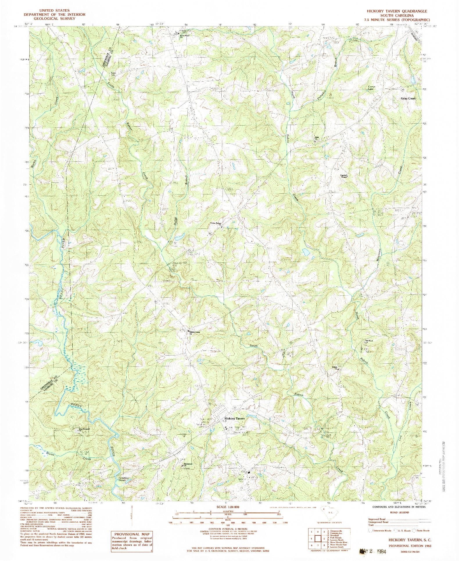 USGS 1:24000-SCALE QUADRANGLE FOR HICKORY TAVERN, SC 1983
