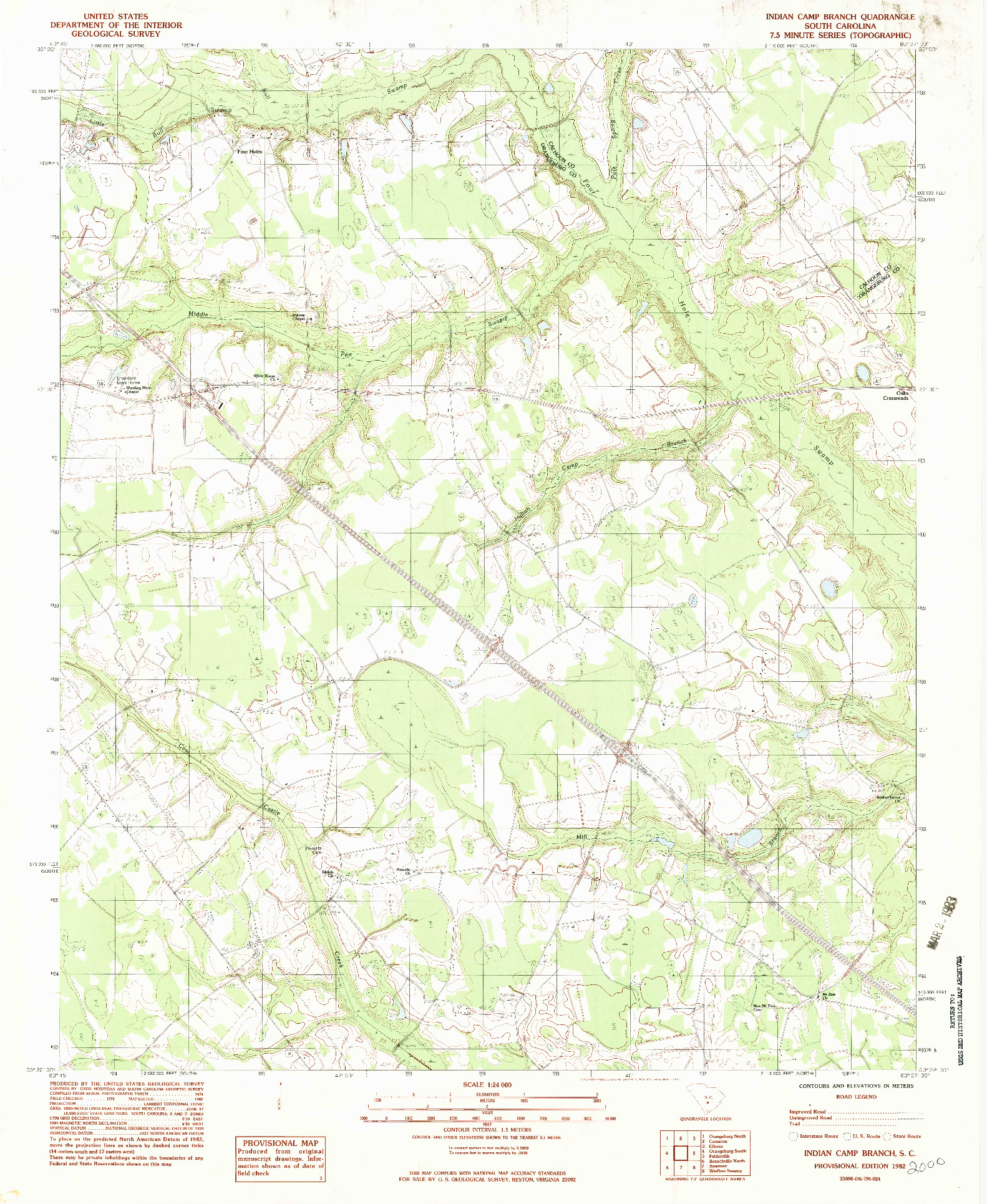 USGS 1:24000-SCALE QUADRANGLE FOR INDIAN CAMP BRANCH, SC 1982