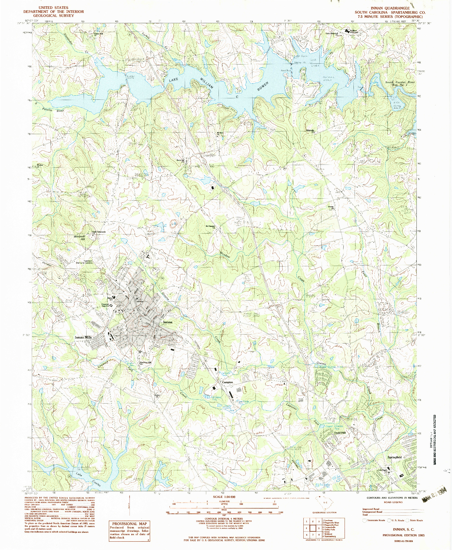 USGS 1:24000-SCALE QUADRANGLE FOR INMAN, SC 1983