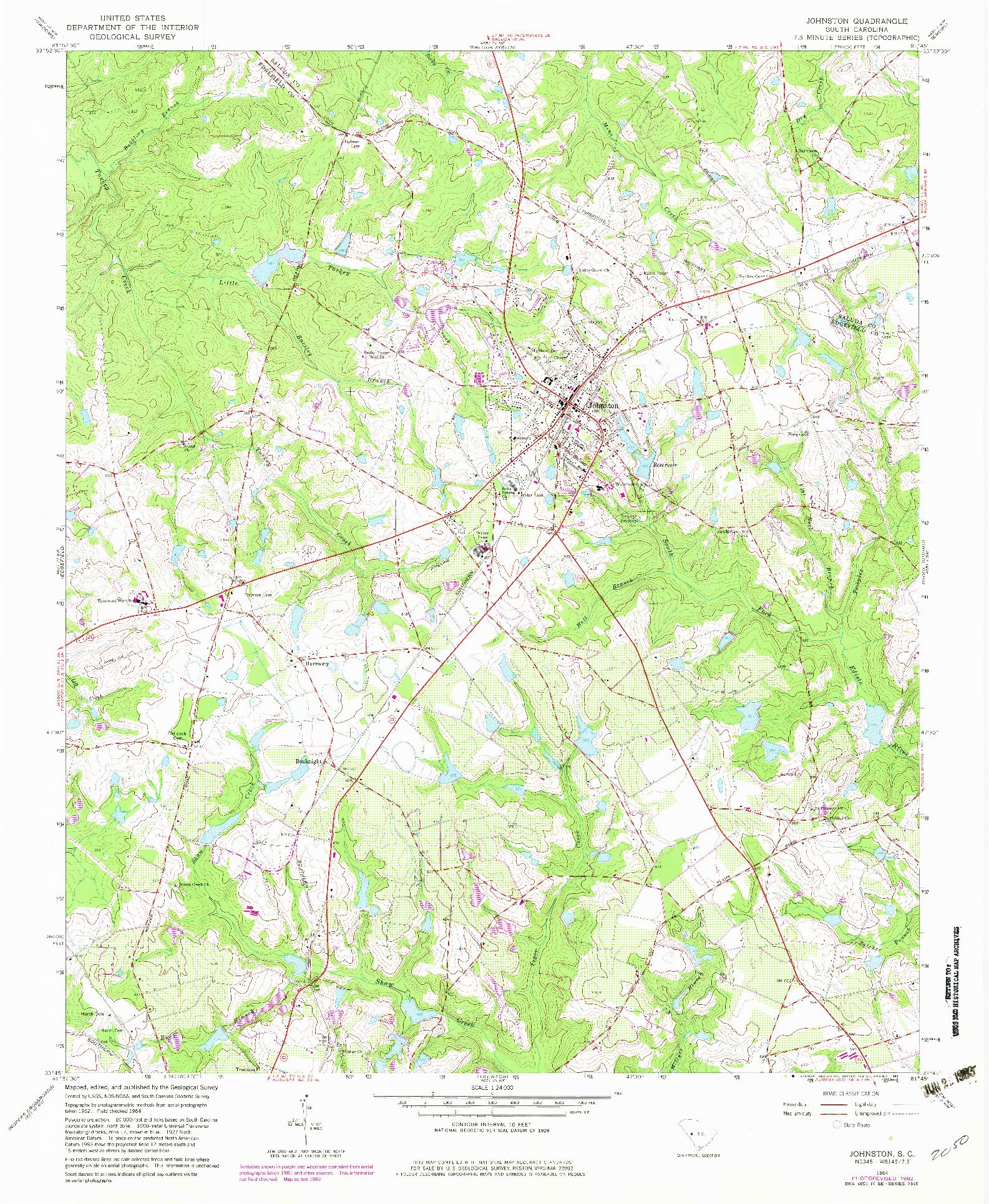 USGS 1:24000-SCALE QUADRANGLE FOR JOHNSTON, SC 1964