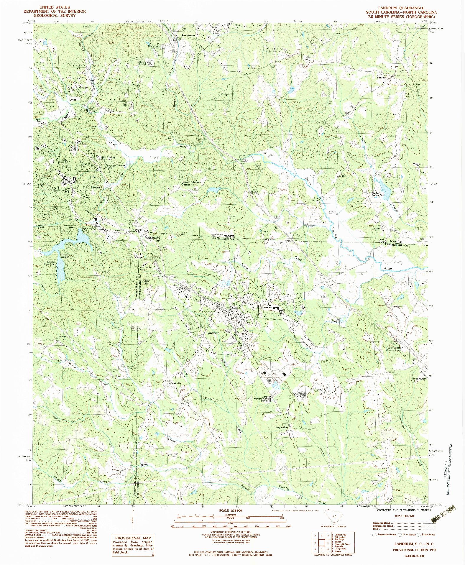 USGS 1:24000-SCALE QUADRANGLE FOR LANDRUM, SC 1983