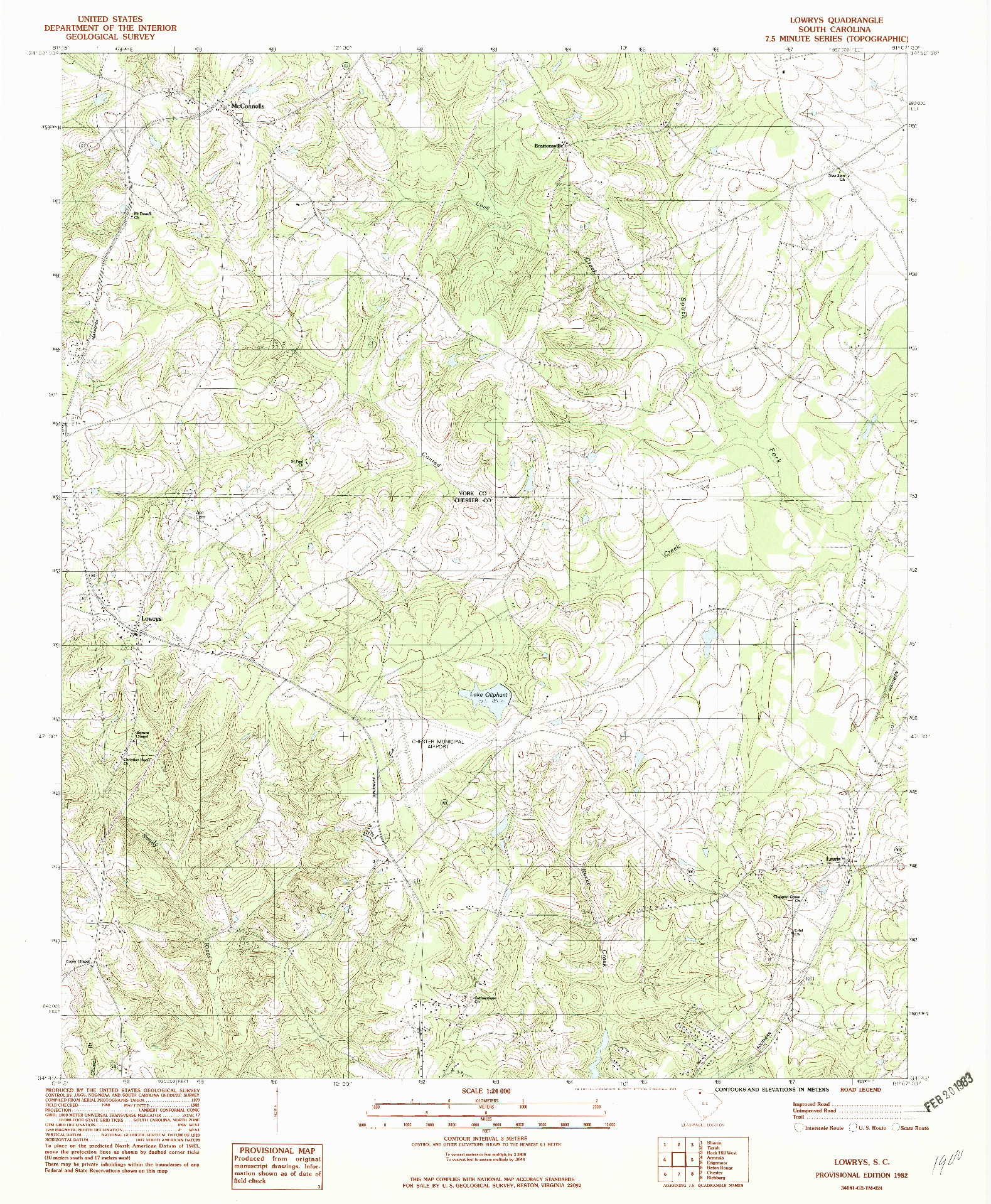 USGS 1:24000-SCALE QUADRANGLE FOR LOWRYS, SC 1982
