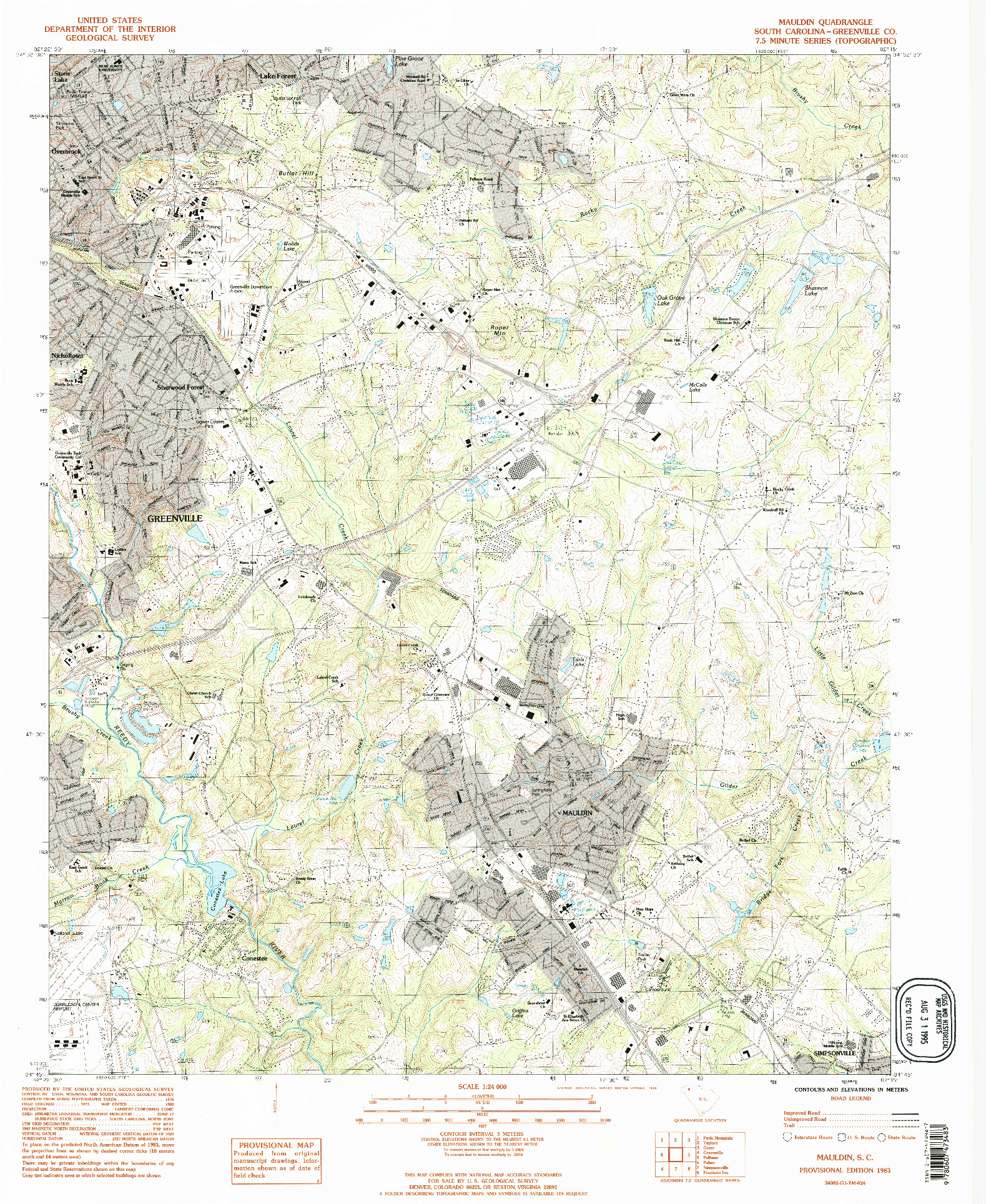 USGS 1:24000-SCALE QUADRANGLE FOR MAULDIN, SC 1983