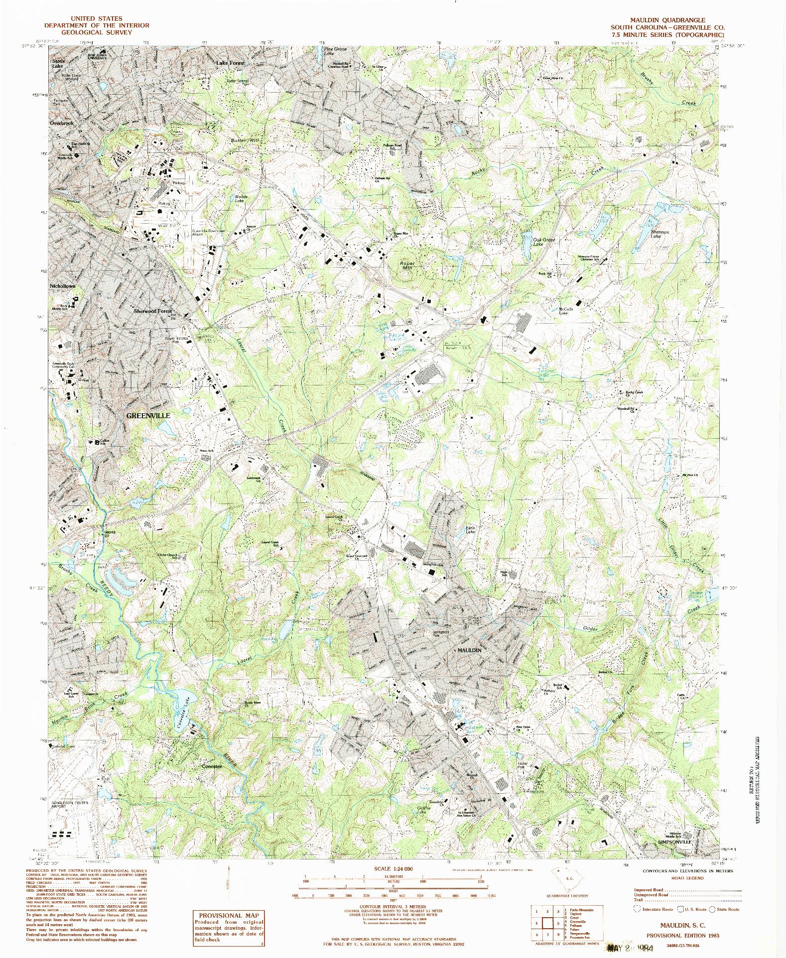 USGS 1:24000-SCALE QUADRANGLE FOR MAULDIN, SC 1983