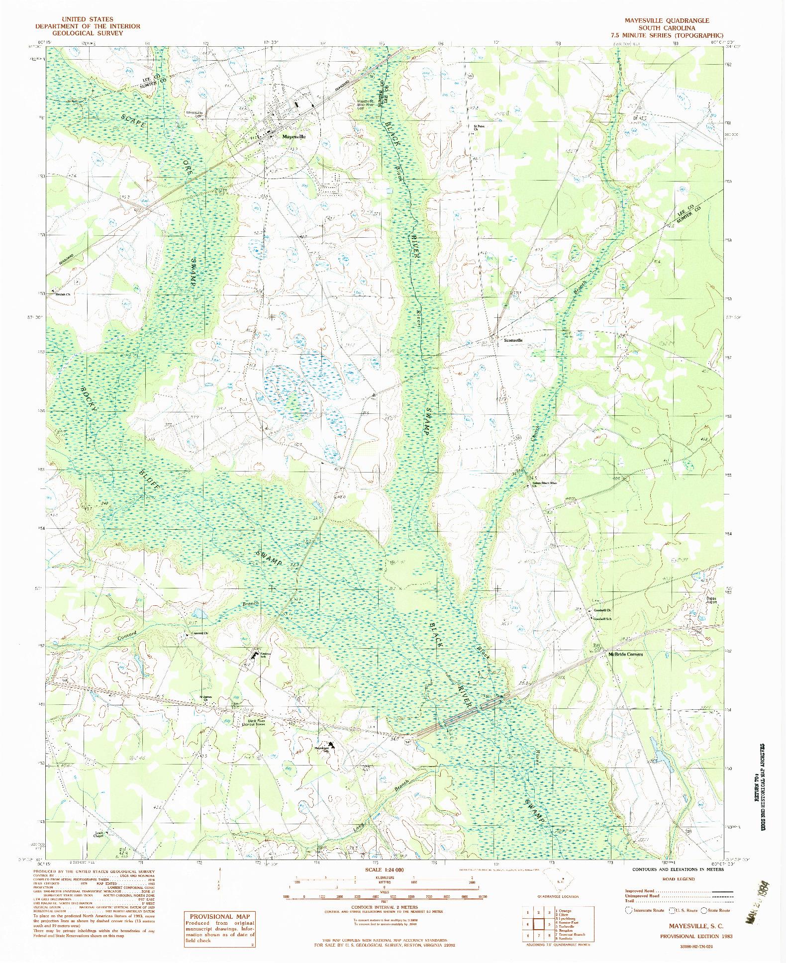 USGS 1:24000-SCALE QUADRANGLE FOR MAYESVILLE, SC 1983
