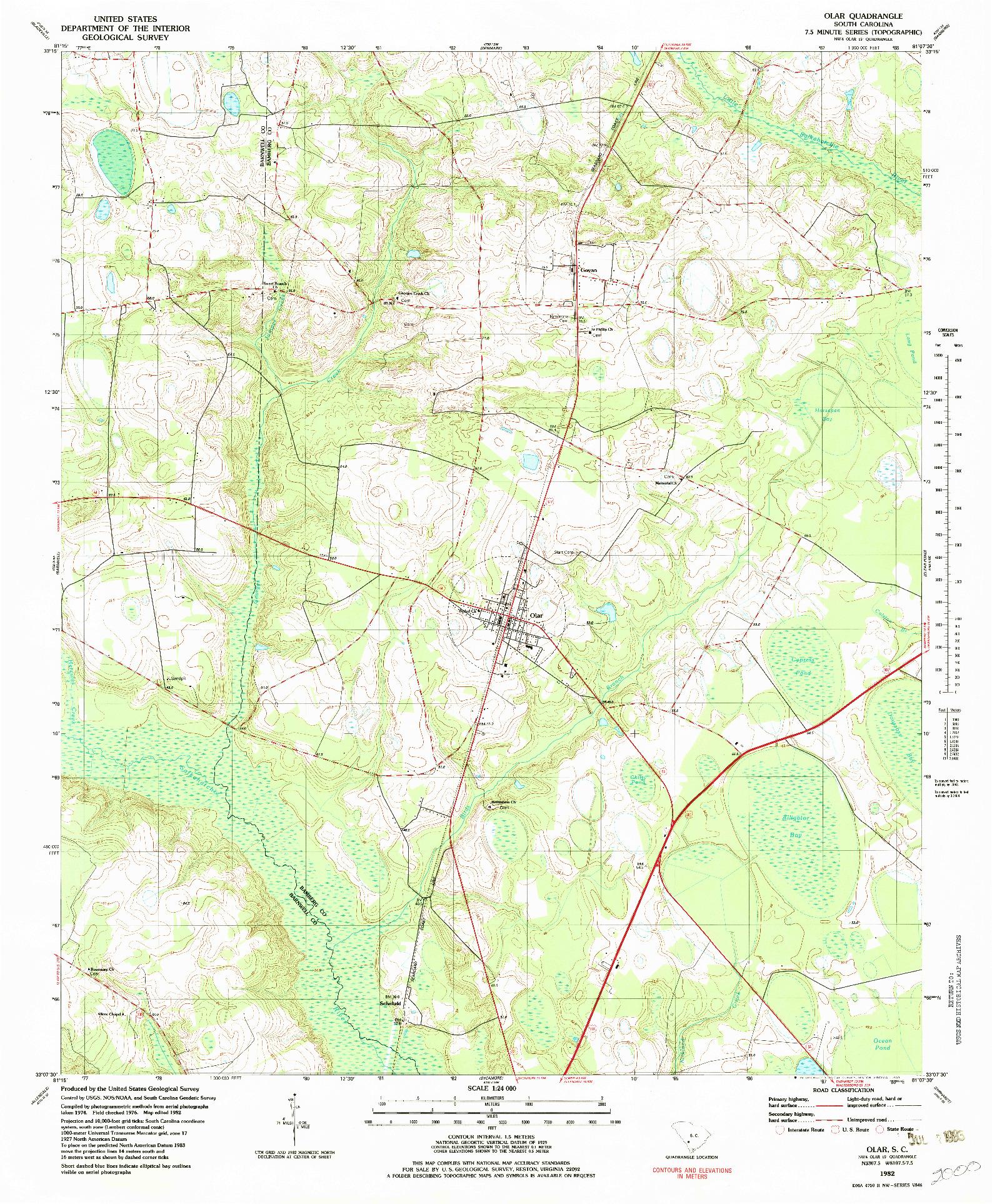 USGS 1:24000-SCALE QUADRANGLE FOR OLAR, SC 1982