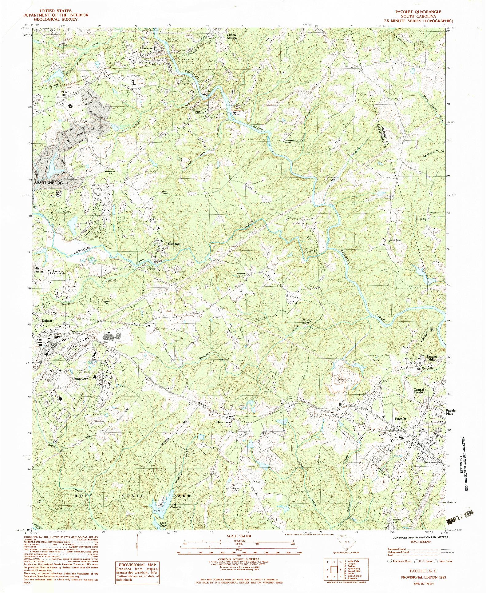 USGS 1:24000-SCALE QUADRANGLE FOR PACOLET, SC 1983