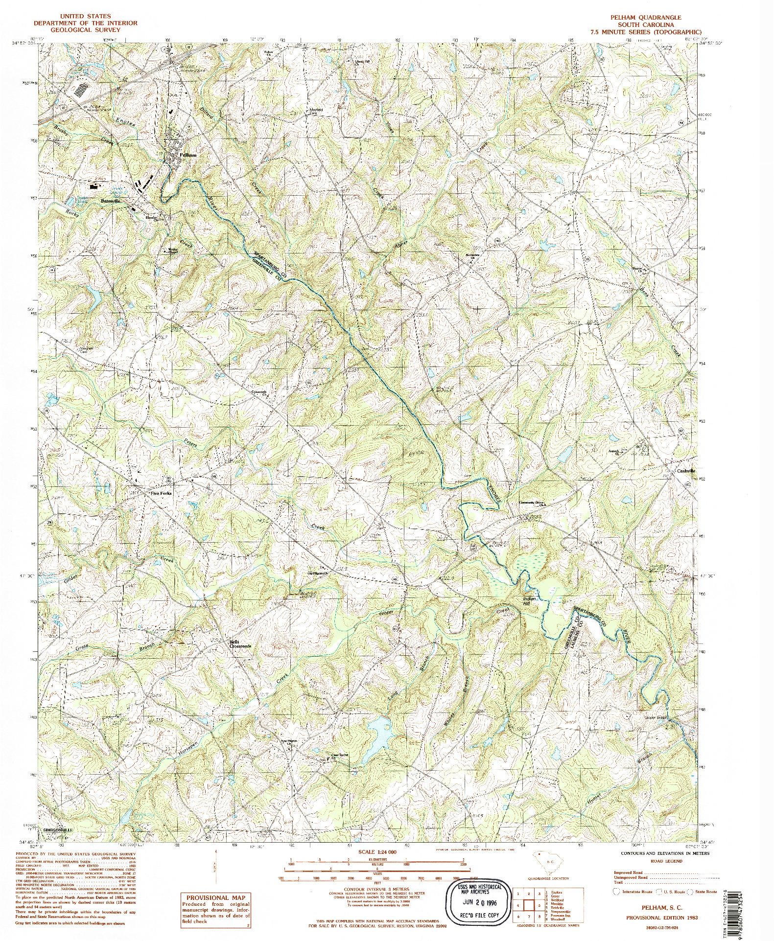 USGS 1:24000-SCALE QUADRANGLE FOR PELHAM, SC 1983