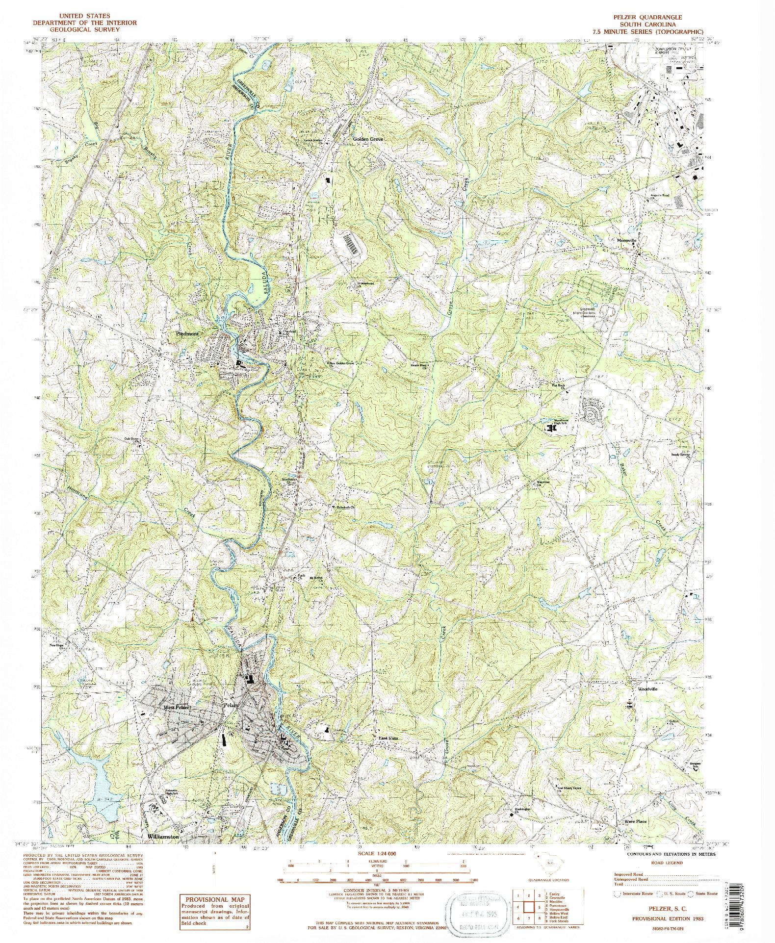 USGS 1:24000-SCALE QUADRANGLE FOR PELZER, SC 1983
