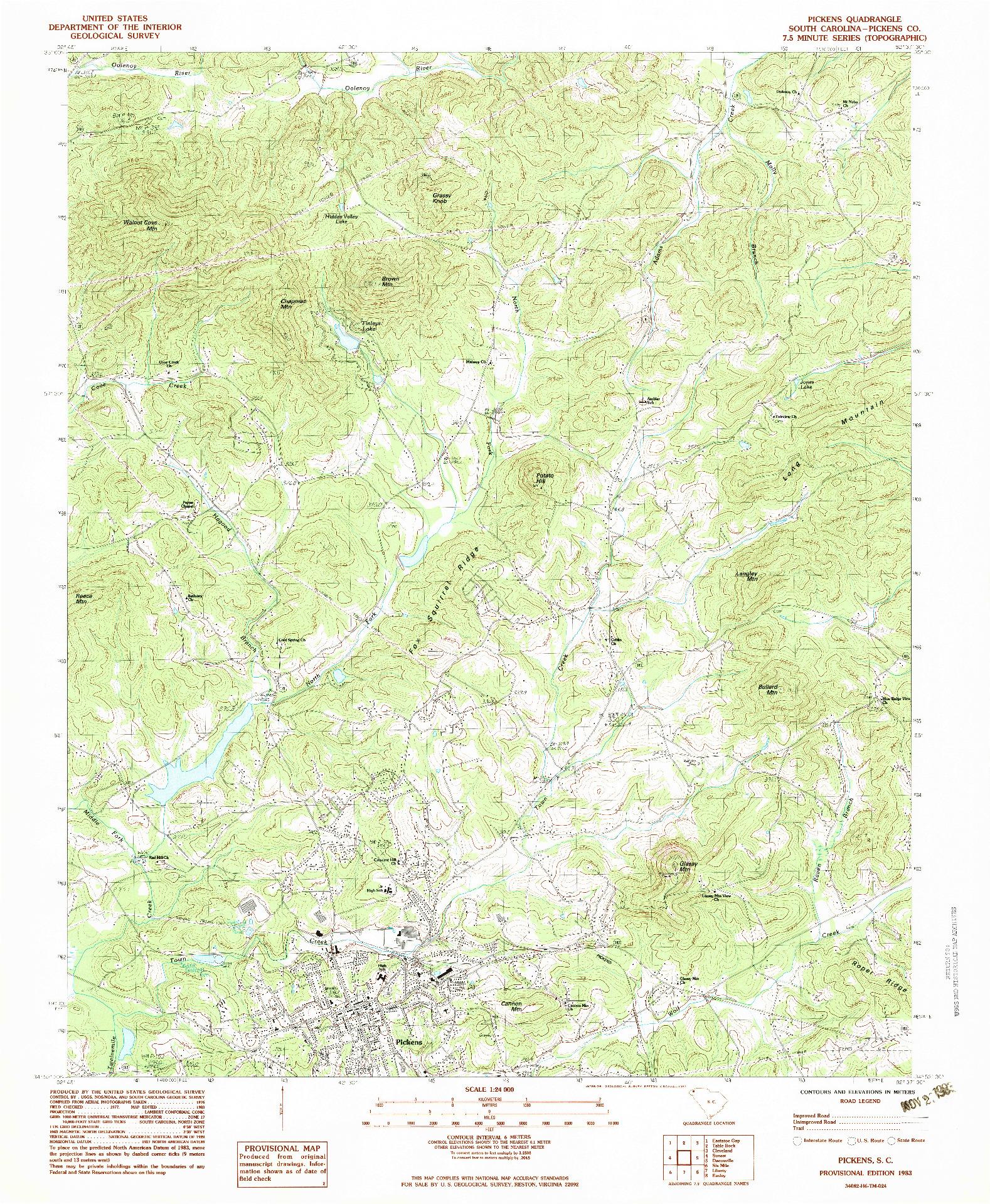 USGS 1:24000-SCALE QUADRANGLE FOR PICKENS, SC 1983