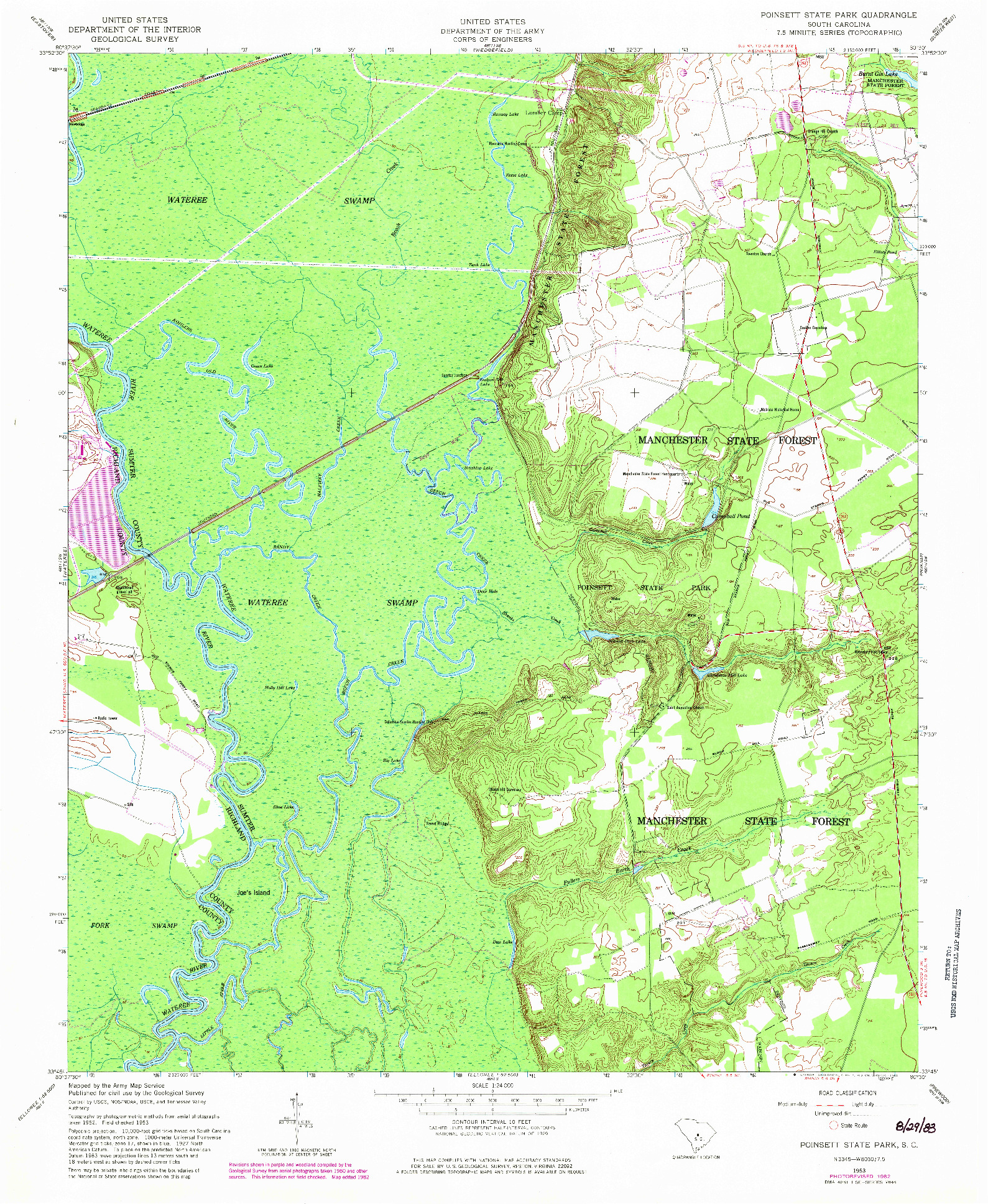 USGS 1:24000-SCALE QUADRANGLE FOR POINSETT STATE PARK, SC 1953