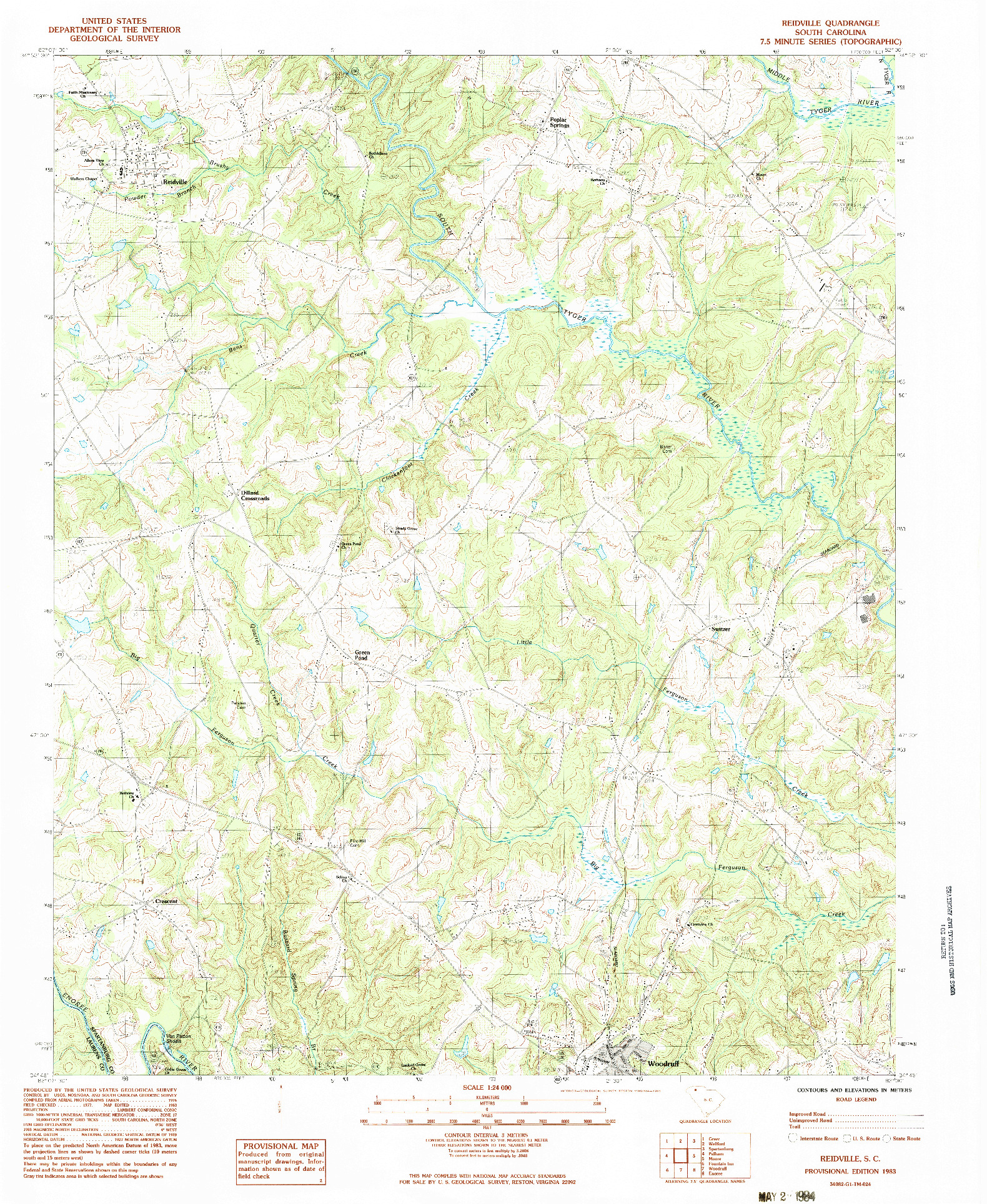 USGS 1:24000-SCALE QUADRANGLE FOR REIDVILLE, SC 1983