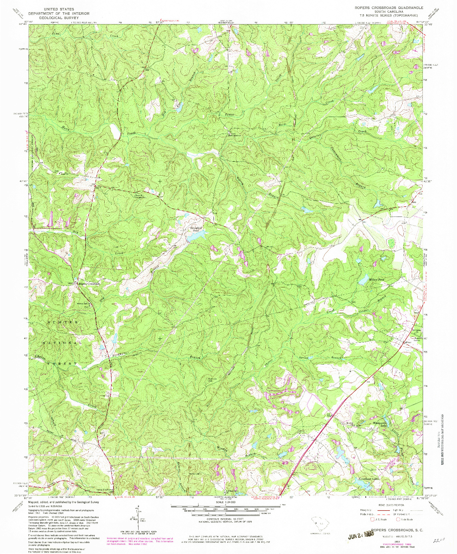 USGS 1:24000-SCALE QUADRANGLE FOR ROPERS CROSSROADS, SC 1964
