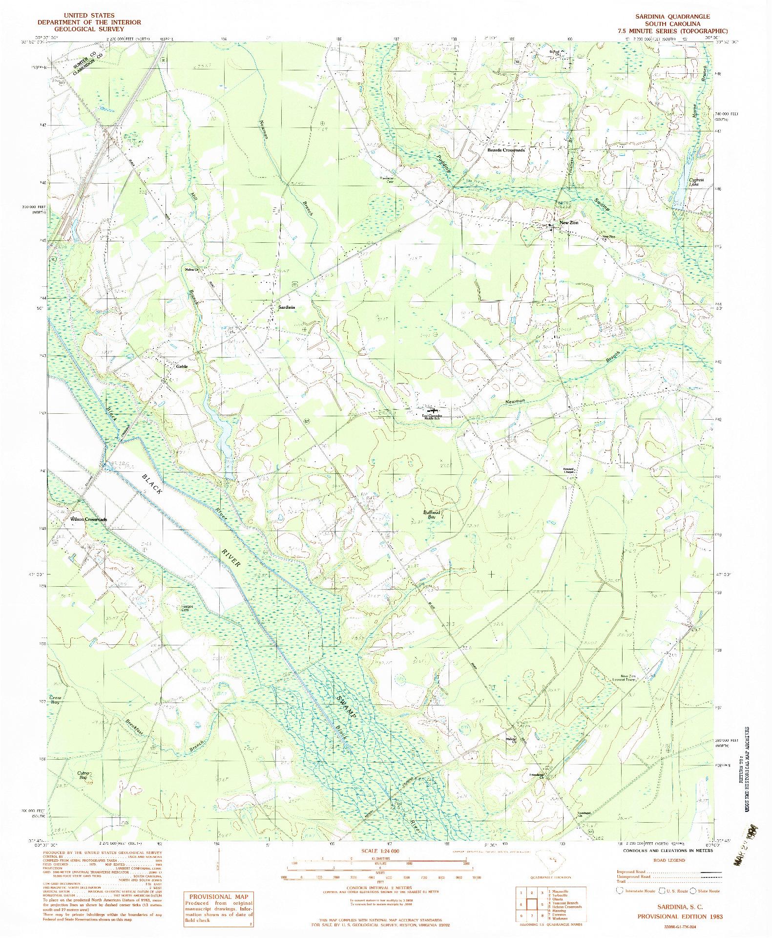 USGS 1:24000-SCALE QUADRANGLE FOR SARDINIA, SC 1983