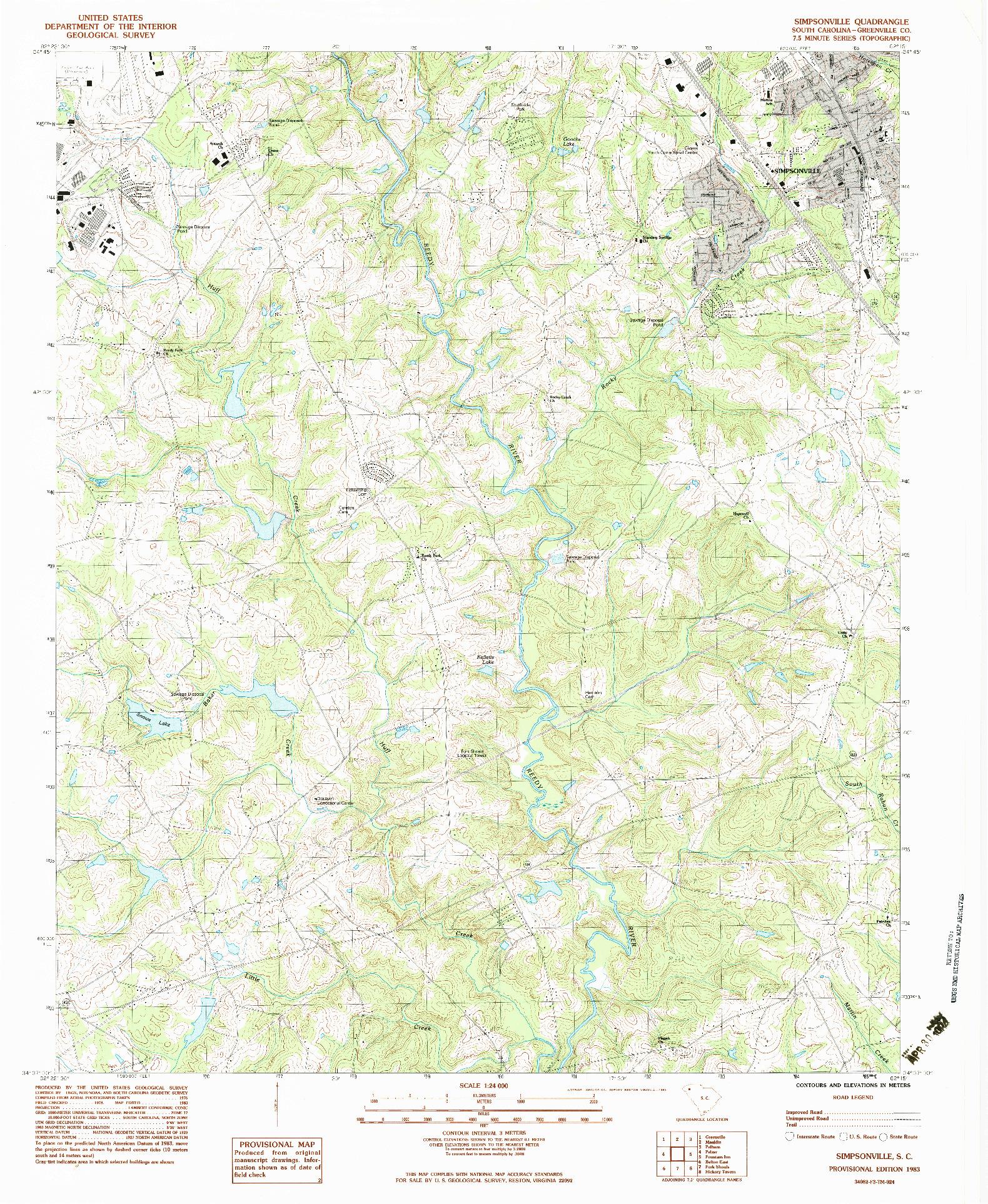 USGS 1:24000-SCALE QUADRANGLE FOR SIMPSONVILLE, SC 1983