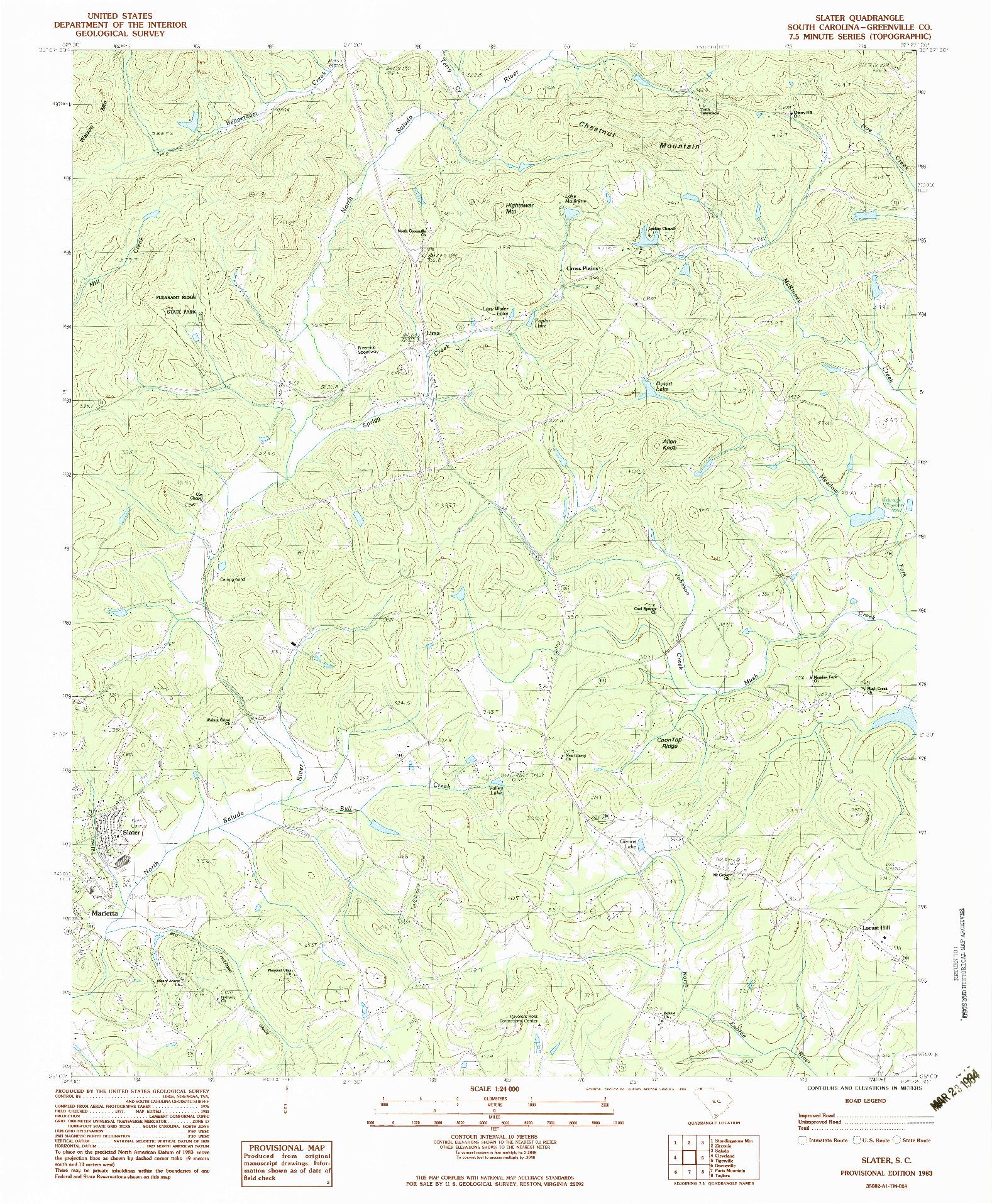 USGS 1:24000-SCALE QUADRANGLE FOR SLATER, SC 1983