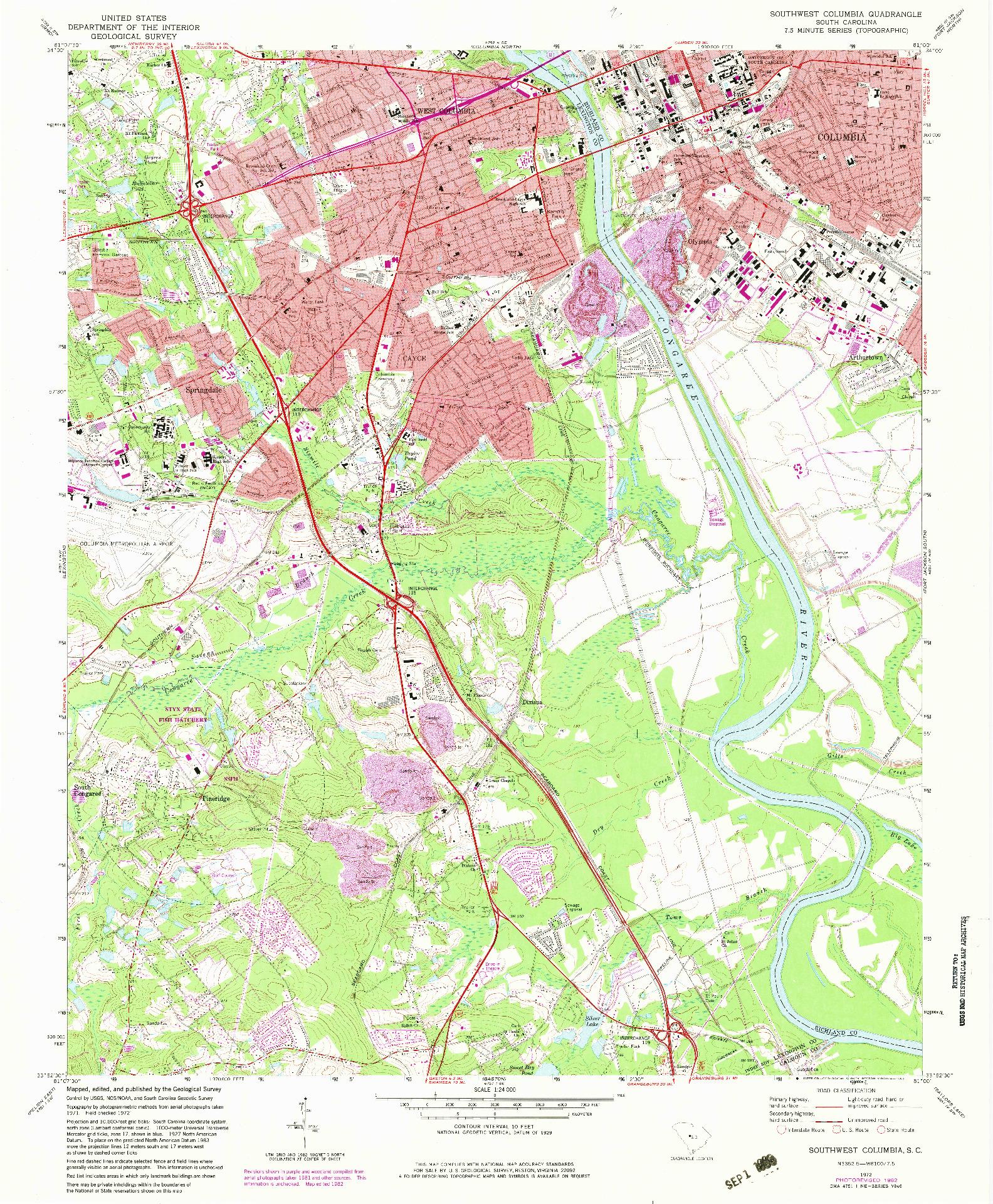 USGS 1:24000-SCALE QUADRANGLE FOR SOUTHWEST COLUMBIA, SC 1972